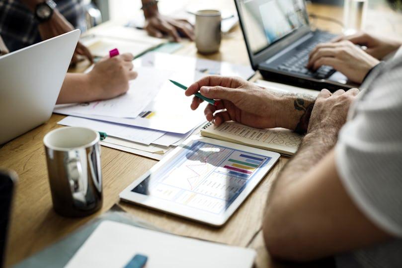 People having startup business result meeting together