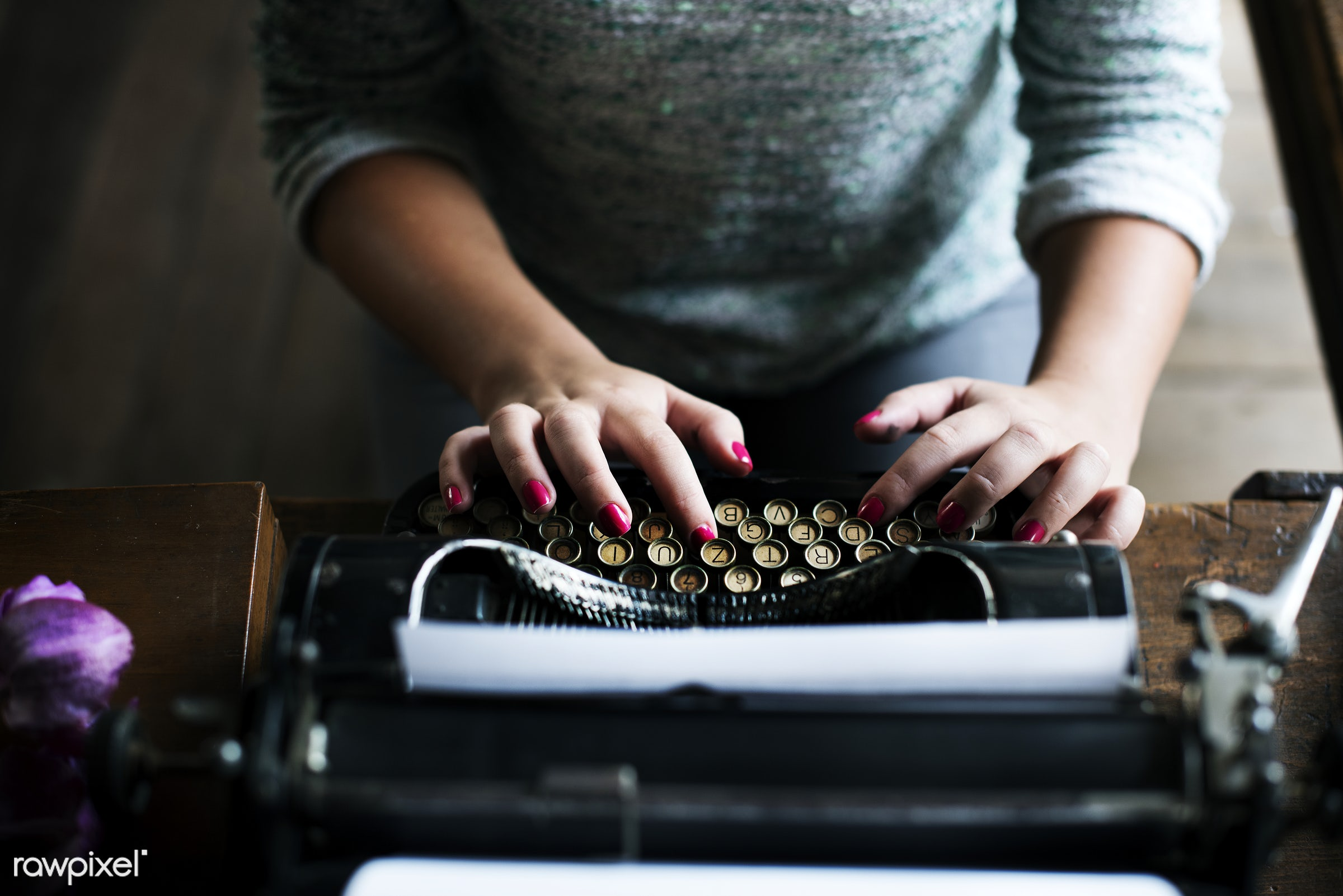 journalism, person, old, retro, author, typewriter, hands, woman, casual, old fashioned, closeup, journalist, hipster,...