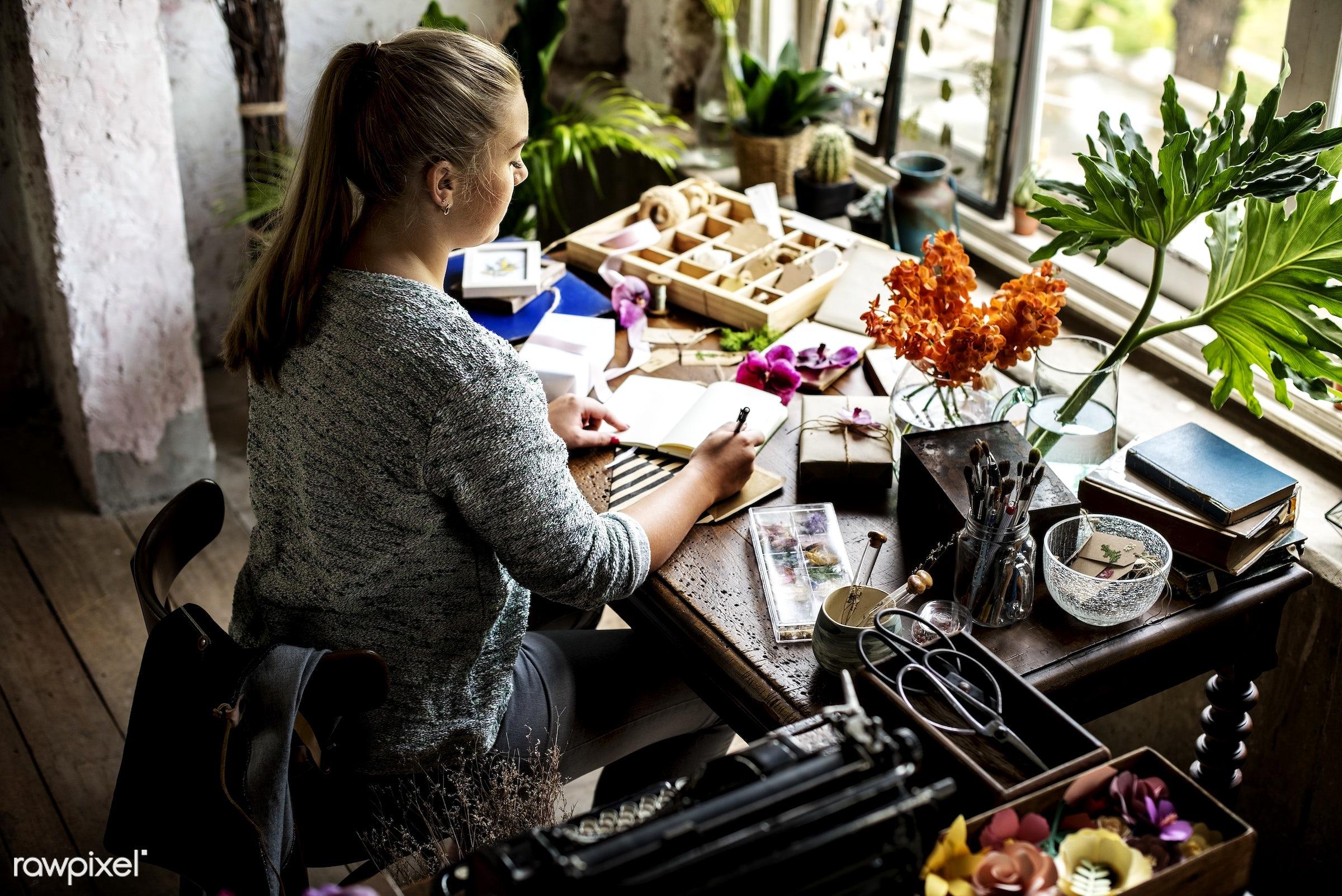 plant, person, writing, fresh, woman, flower, flora, decoration, refreshment, leisure, table, florist, flower shop, notebook...