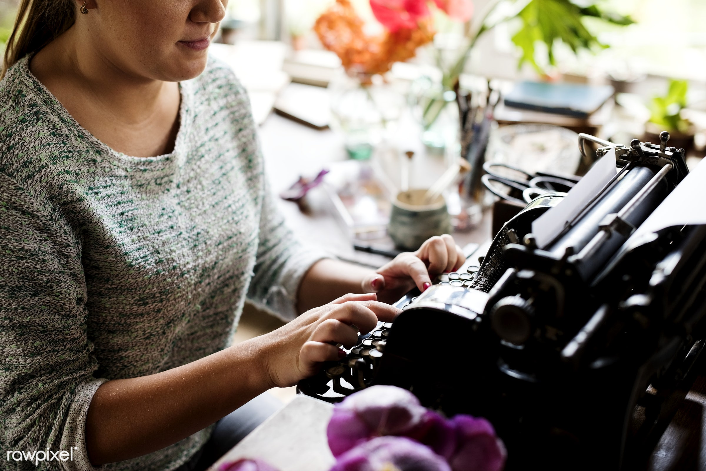 Woman typing on a vintage typewriter - journalism, person, old, retro, author, typewriter, hands, woman, casual, old...