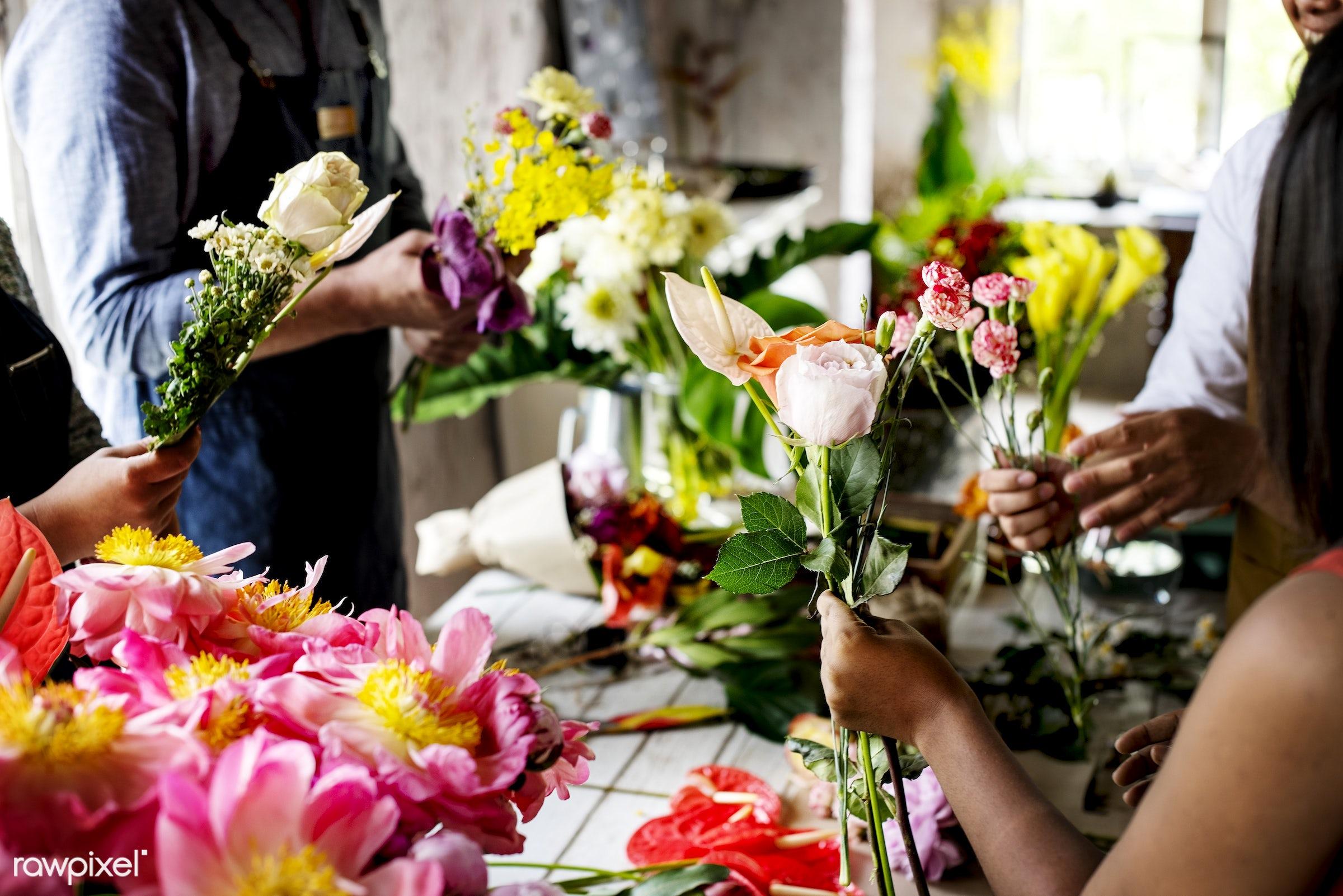 bouquet, apron, arrangement, bunch, business, candid, casual, decoration, florist, flower shop, indoors, job, man, nature,...