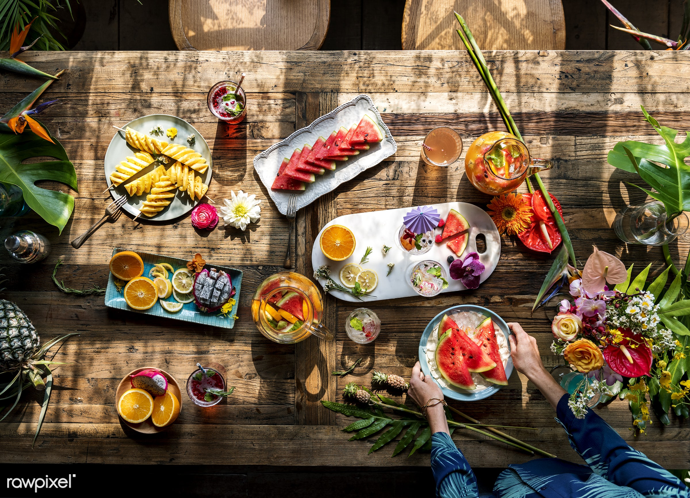 person, tropical, drinks, fresh, hands, juice, cocktail, flower, preparation, fruits, refreshment, table, wooden, food,...