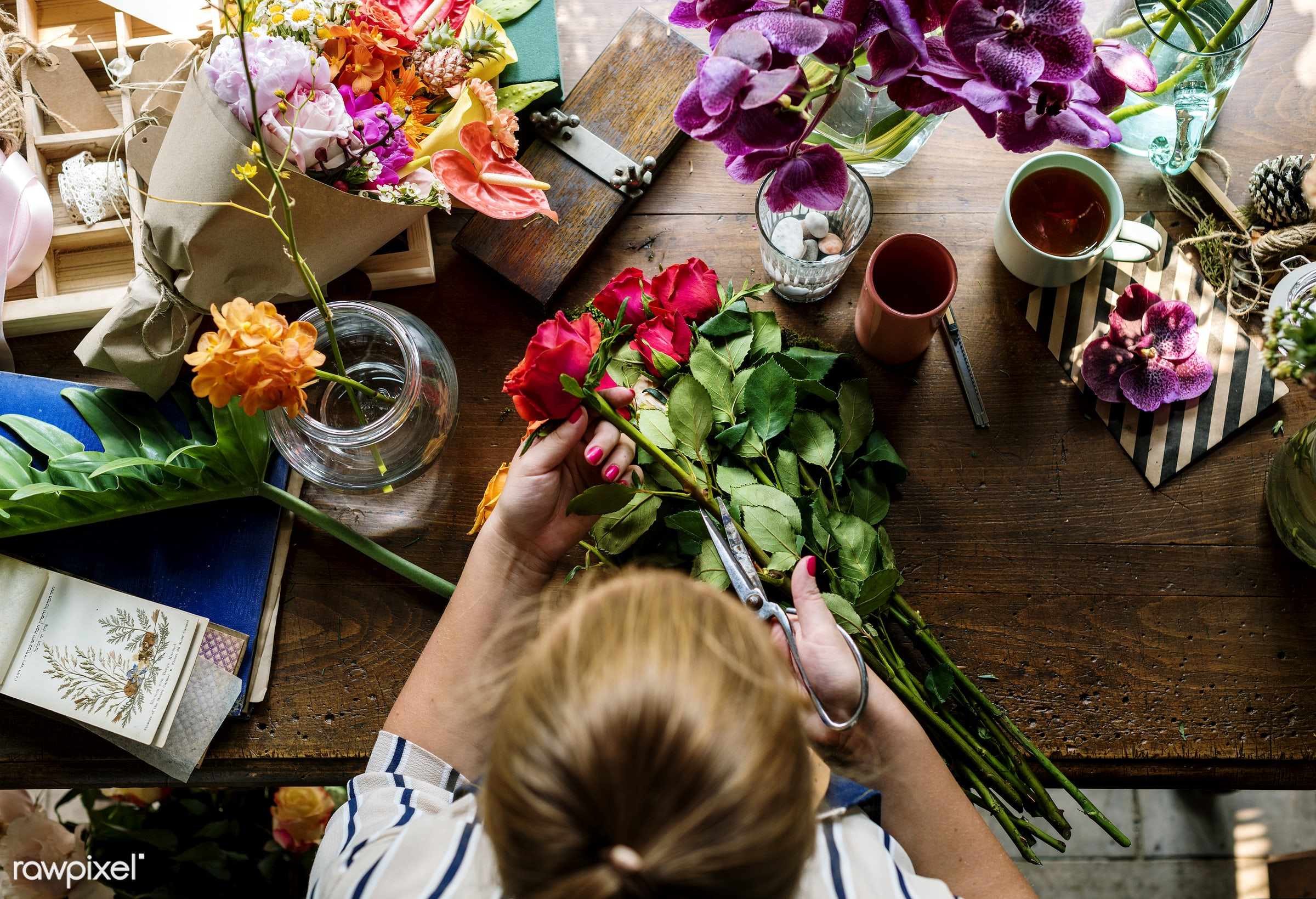 plant, bouquet, person, fresh, woman, aerial view, flower, decoration, flora, refreshment, leisure, table, cutting, florist...