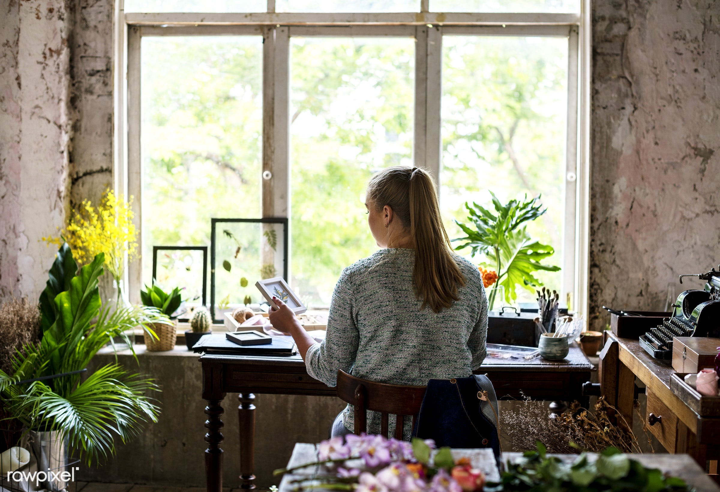 person, store, small business, pressed flowers, indoors, self-employed, business, nature, woman, casual, working, vintage,...