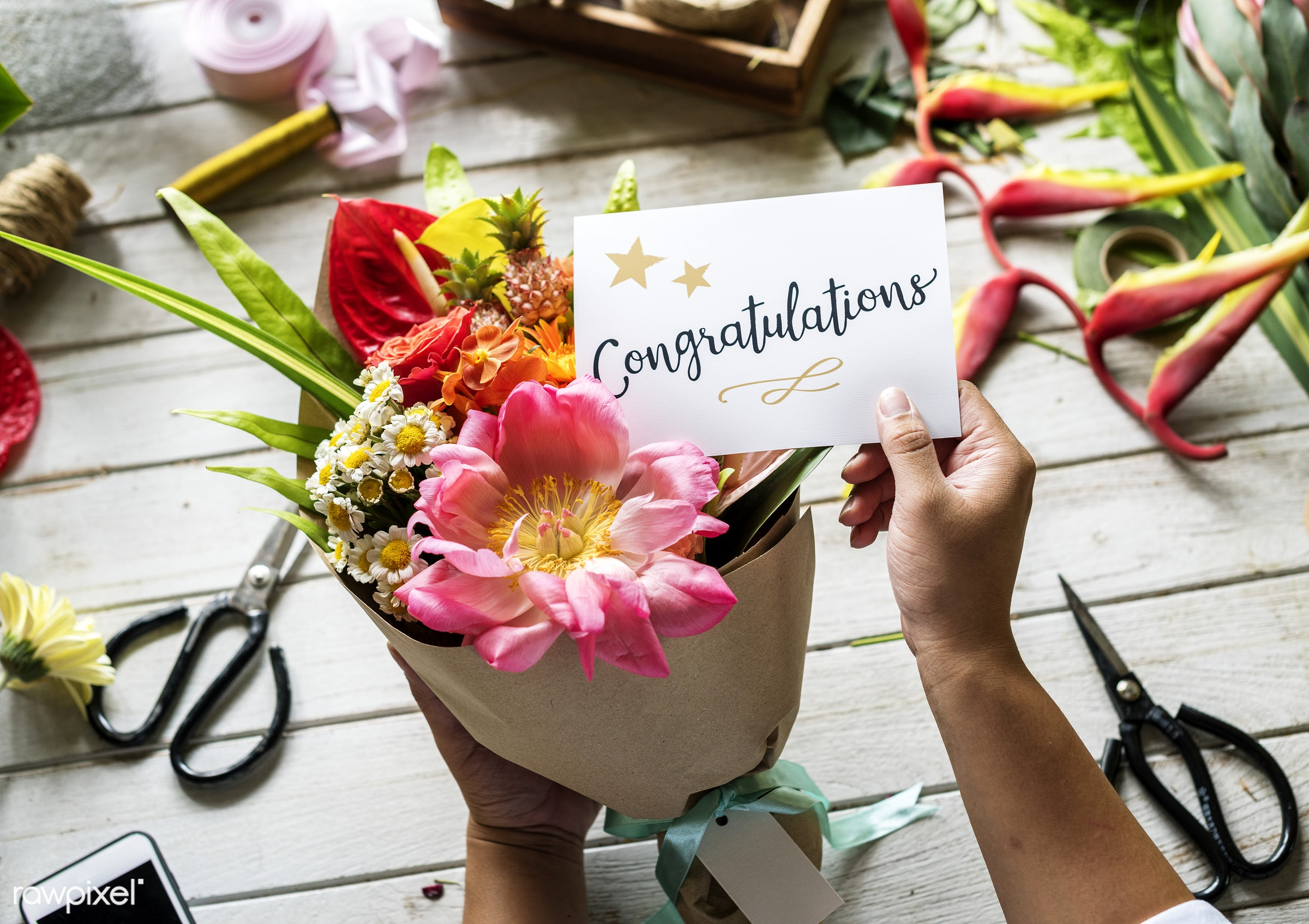 expression, bouquet, congratulations, leaves, diy, congrats, card, cheerful, flower, victory, achievement, honor, greeting,...