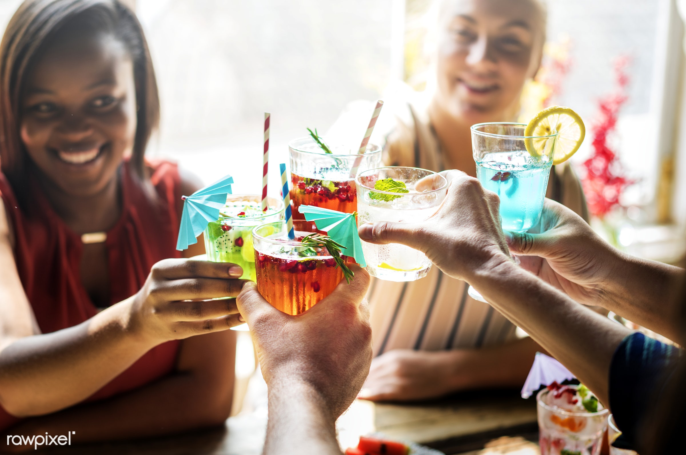 diverse, tropical, party, drinks, people, caucasian, friends, casual, juice, cocktail, friendship, gathering, glass, cheers...