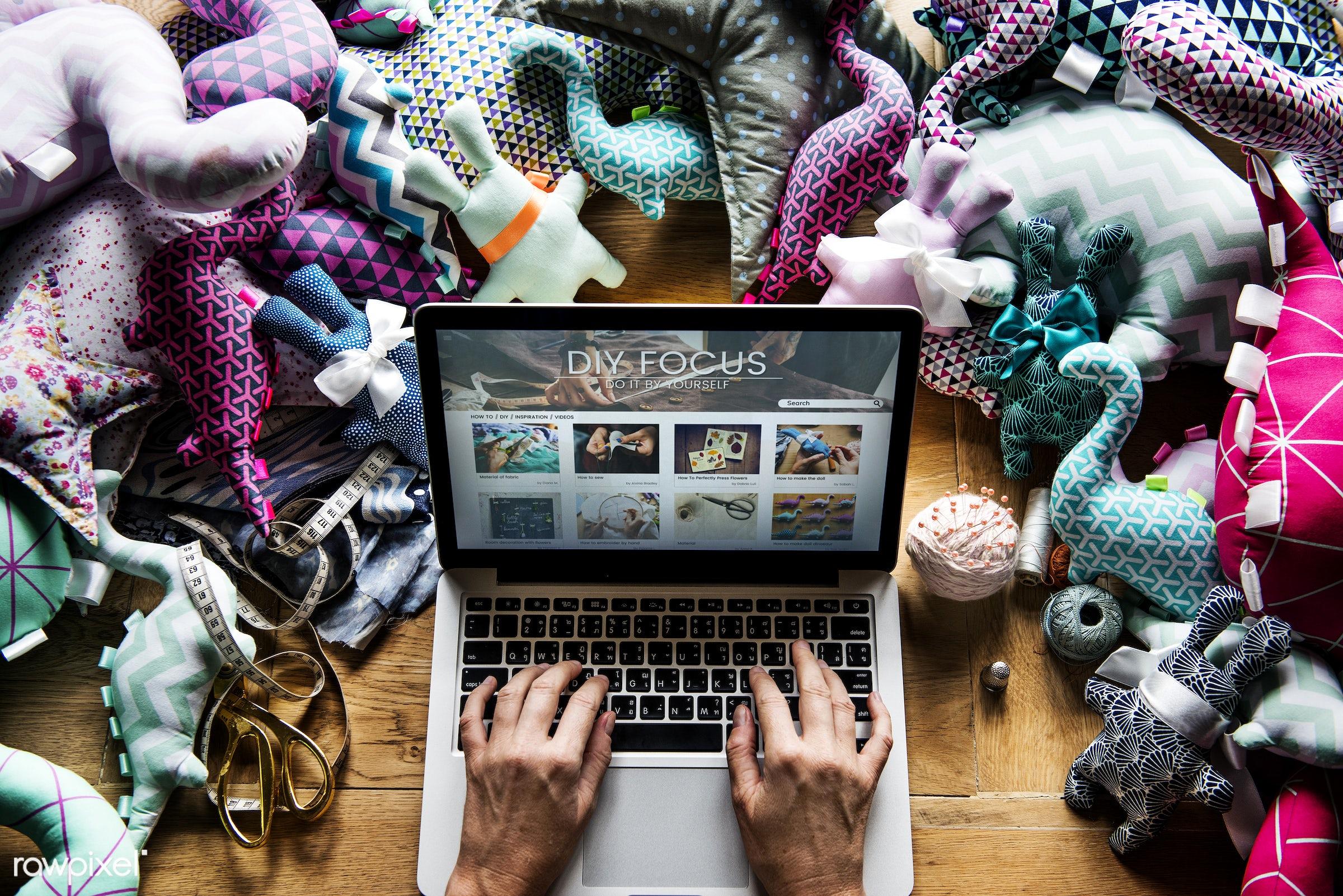computer, digital device, using, handicraft, diy, wireless, laptop, aerial view, fabric, working, closeup, screen,...