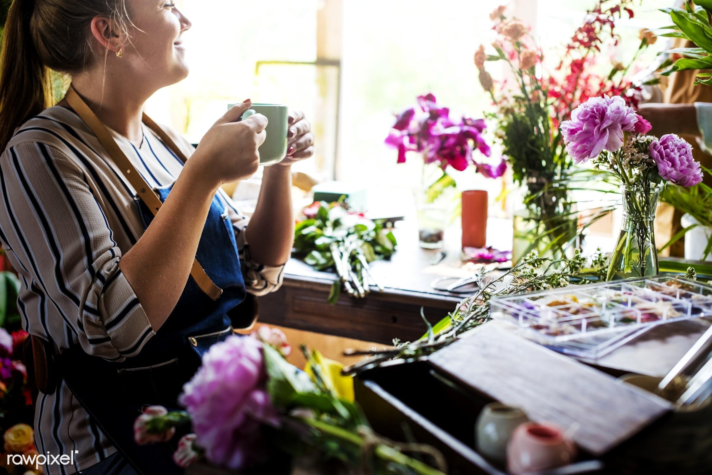 plant, person, drinks, break, fresh, woman, flower, decoration, flora, coffee, refreshment, leisure, florist, flower shop,...