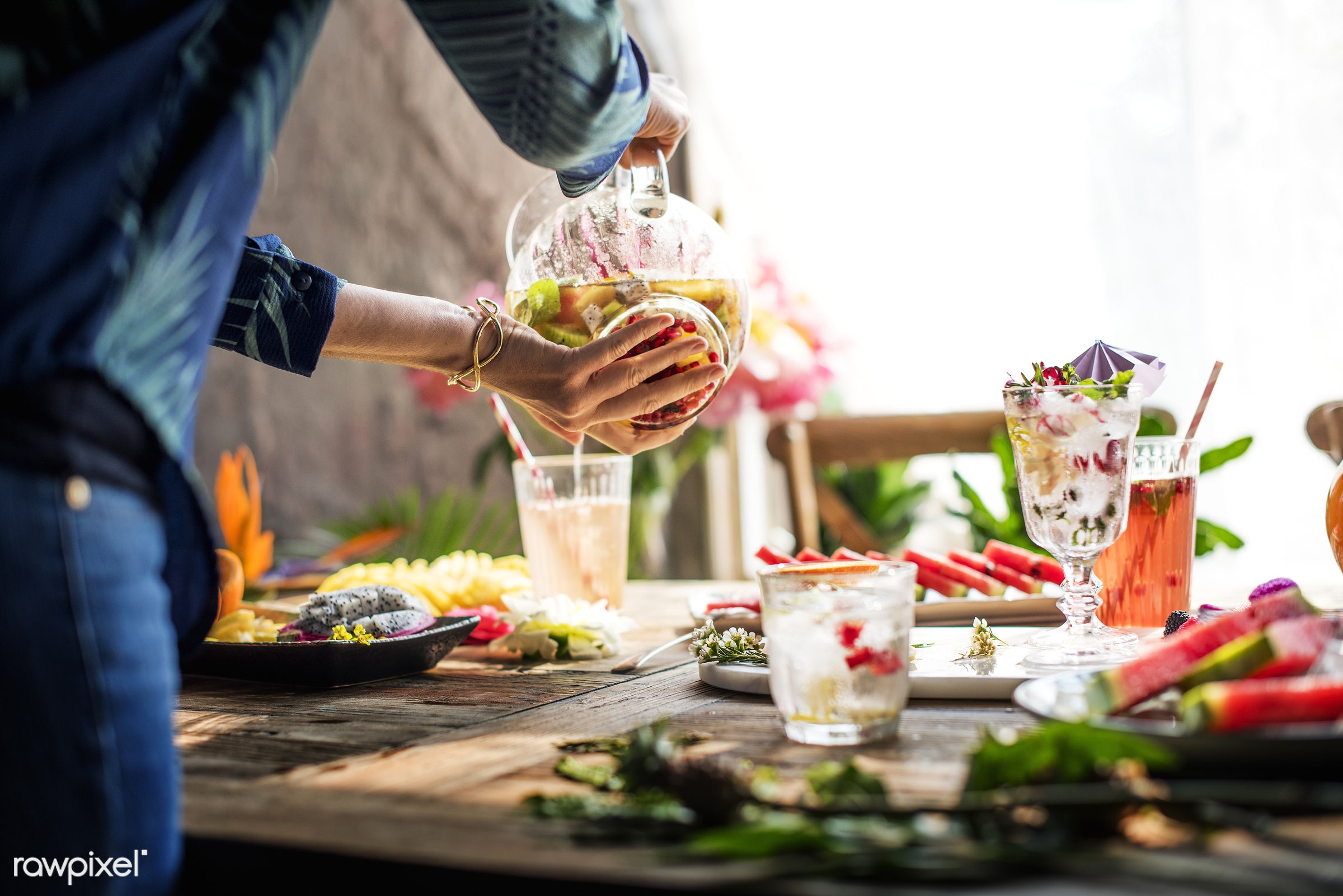 person, tropical, restaurant, drinks, fresh, juice, cocktail, flower, preparation, fruits, refreshment, table, wooden, food...