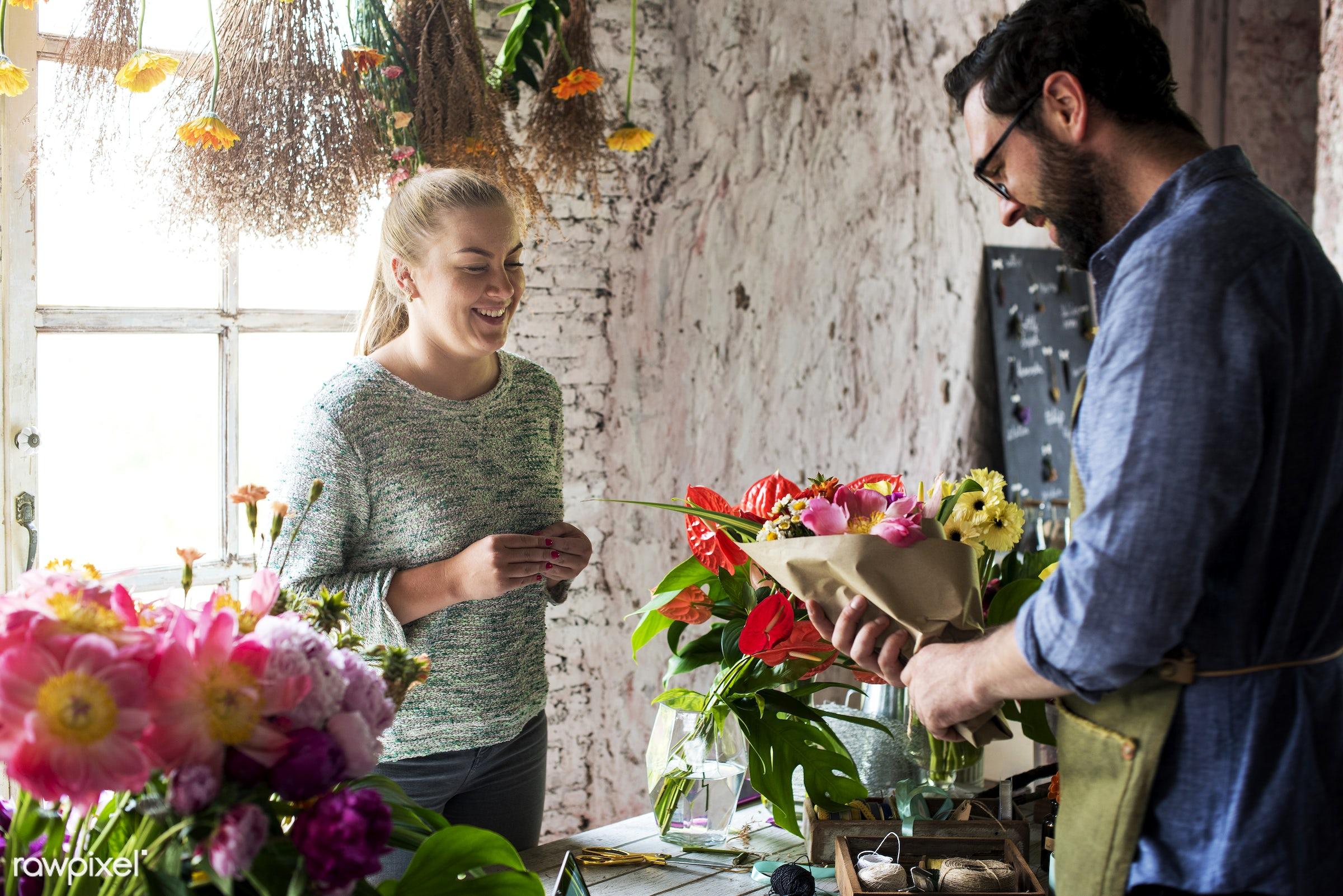 plant, bouquet, buy, customer, fresh, couple, partner, flower, selling, decoration, flora, refreshment, leisure, florist,...