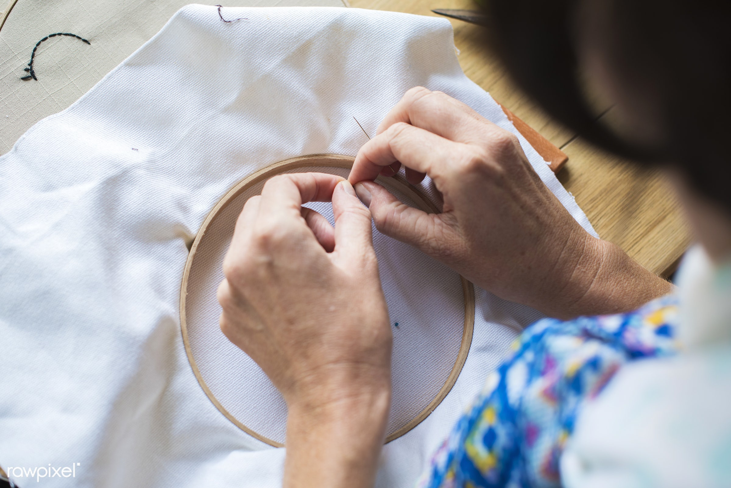 workspace, handicraft, workplace, stitching, equipment, tools, cloth, hands, thread, lifestyle, making, embroidery hoop,...