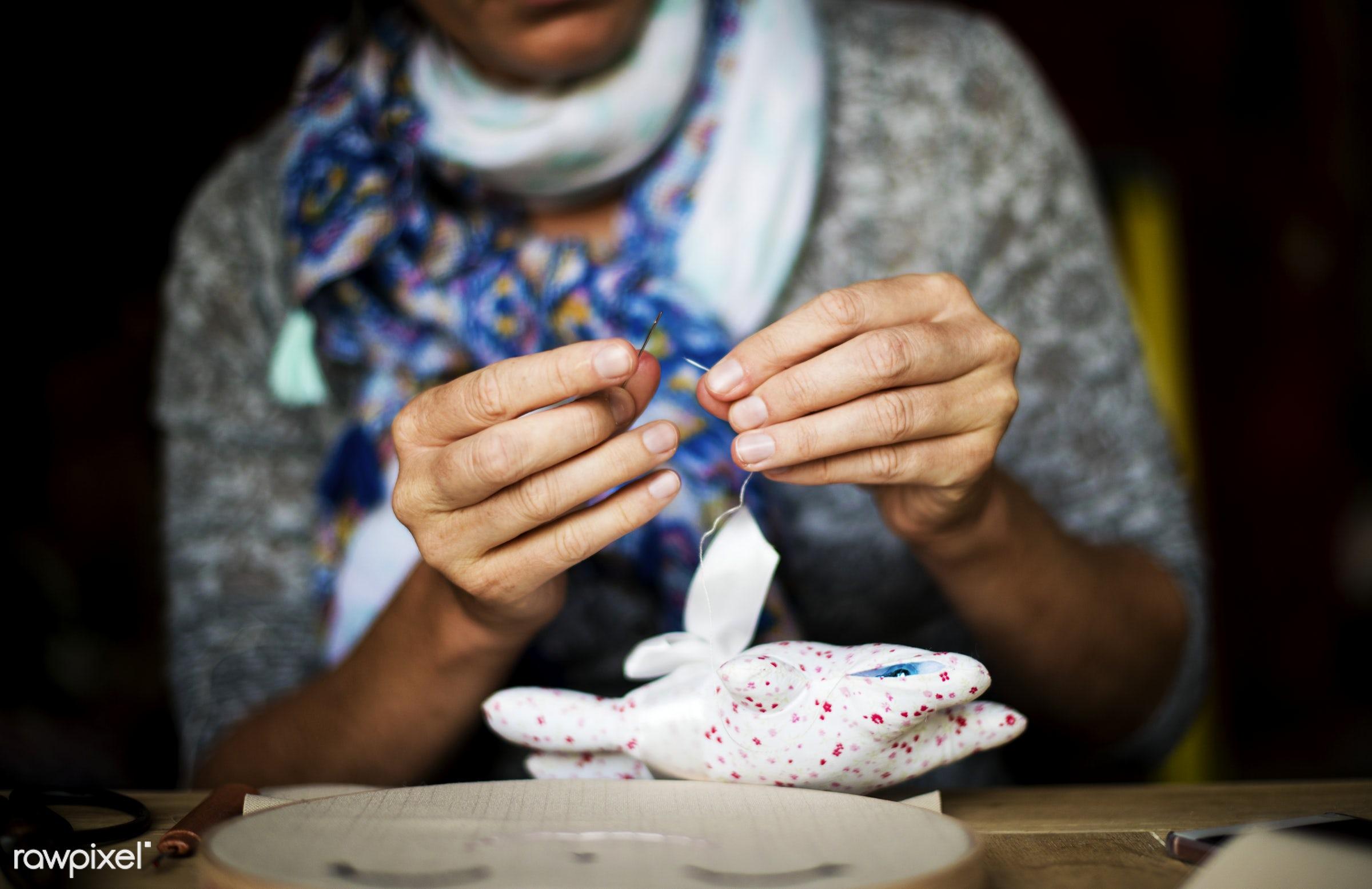 nobody, person, handicraft, homemade, handiwork, diy, accessory, hands, woman, casual, thread, laptop, handwork, embroidery...
