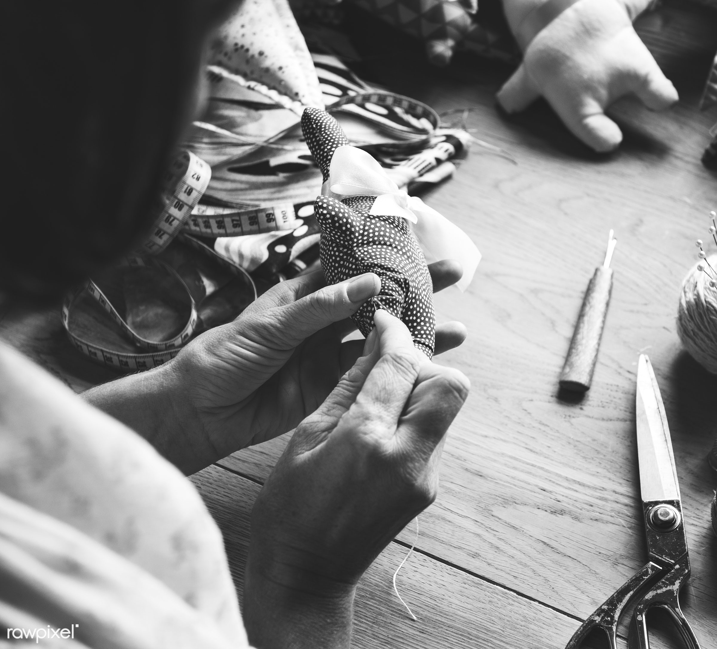 workspace, handicraft, workplace, stitching, equipment, tools, cloth, hands, lifestyle, thread, making, working, aerial view...