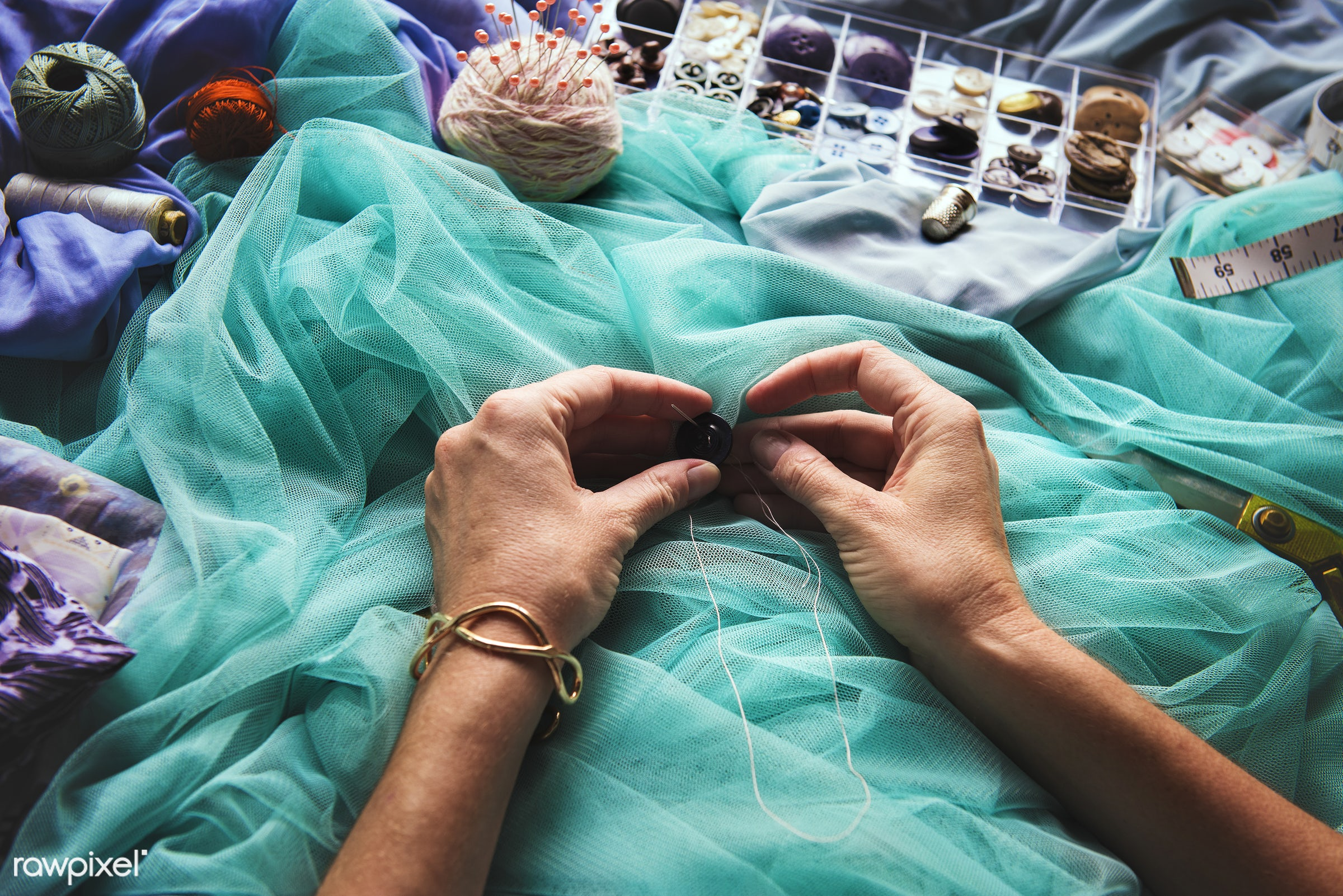 workspace, handicraft, workplace, stitching, equipment, tools, cloth, button, hands, woman, thread, lifestyle, making,...