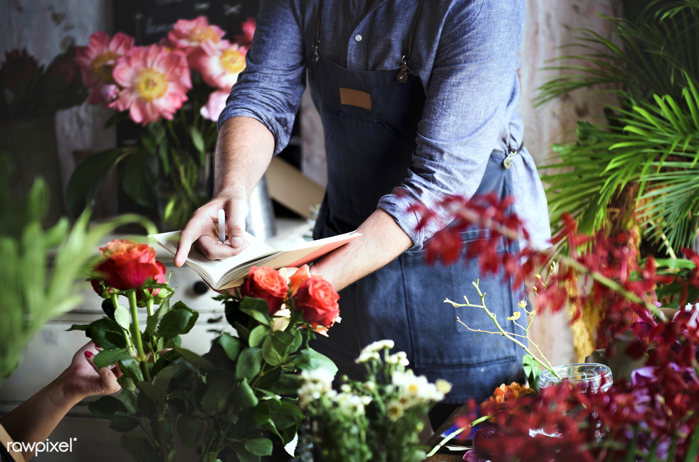 bouquet, person, store, small business, indoors, self-employed, business, nature, casual, bunch, working, man, occupation,...