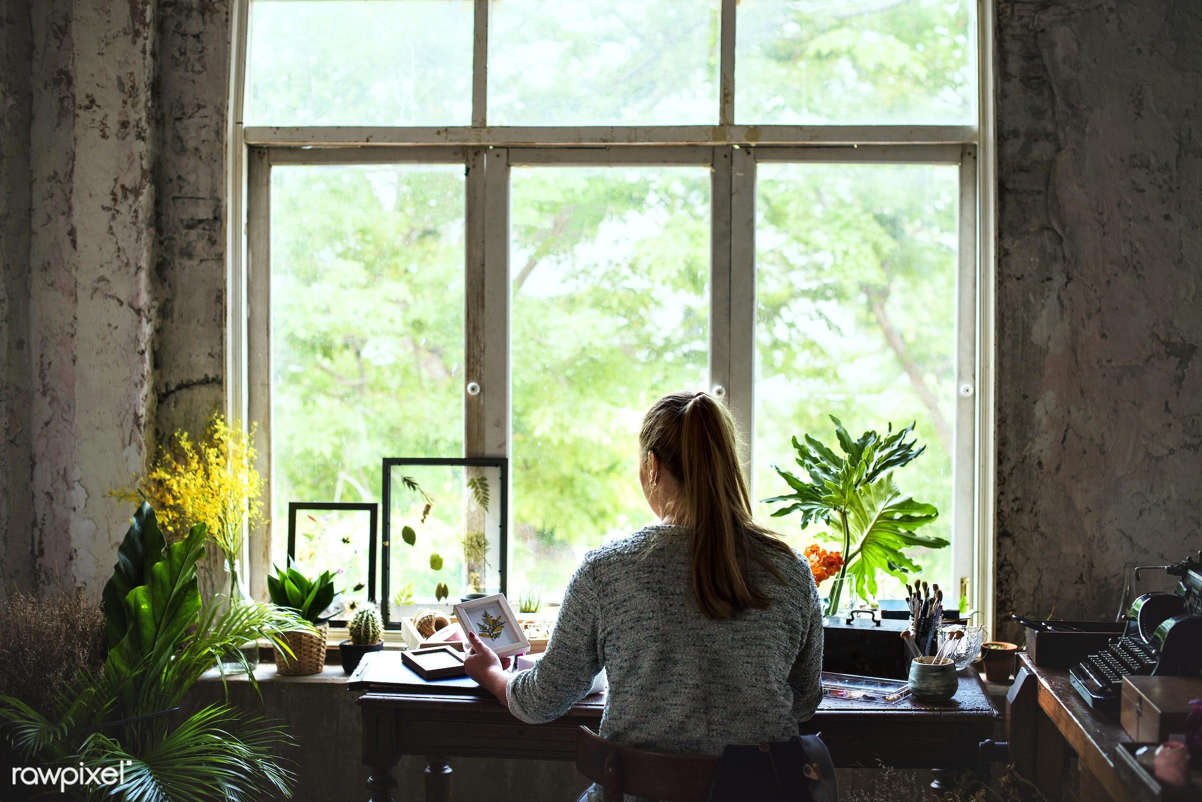 plant, rear view, person, decoration, flora, refreshment, leisure, table, flower shop, florist, recreational, fresh, woman,...