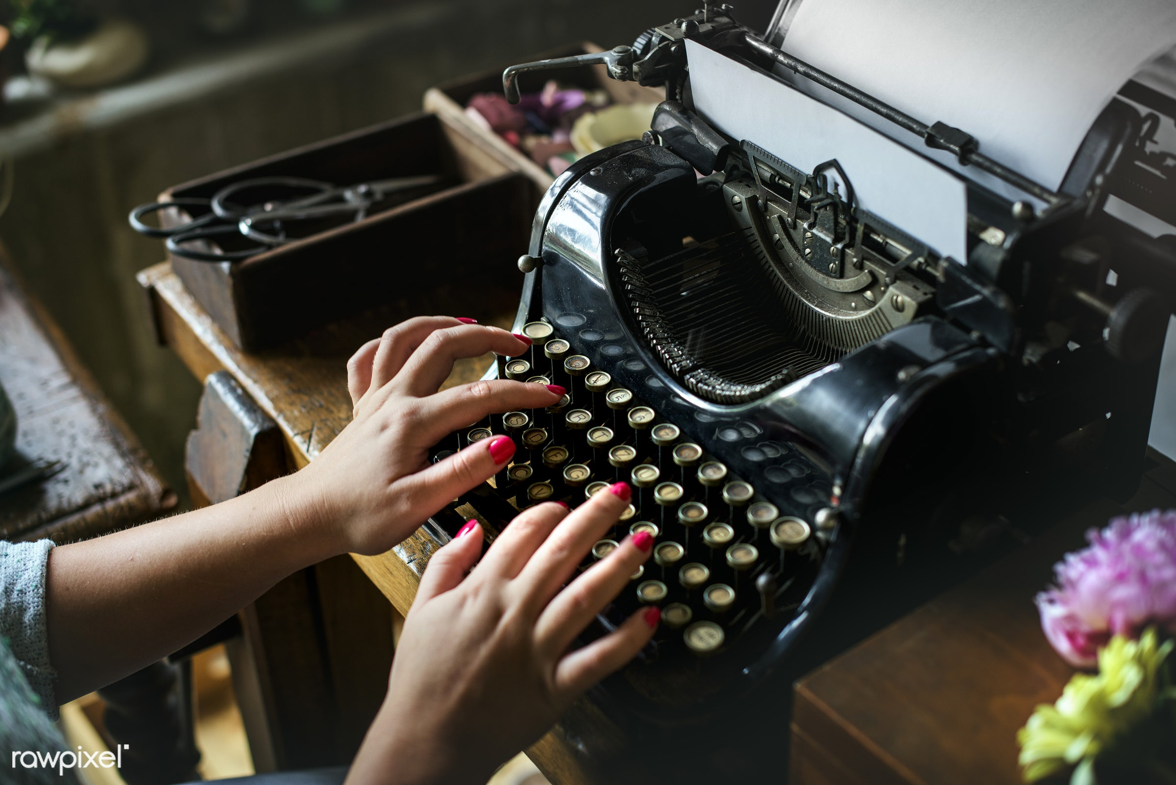 paper, tool, retro, equipment, hands, typewriter, woman, typing, working, objects, closeup, classic, flower, journalist,...