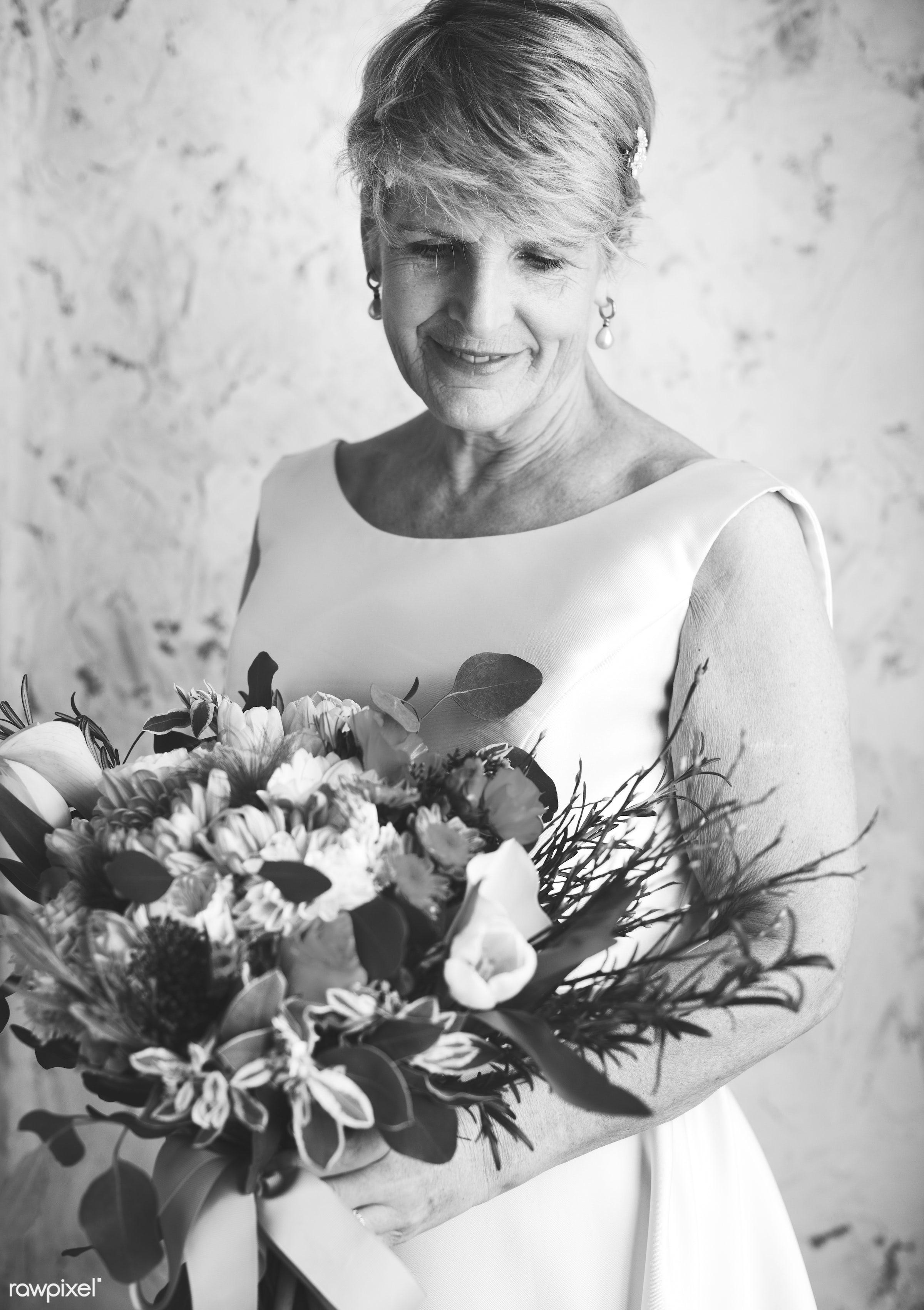bouquet, diverse, holding, white dress, tulips, caucasian, real, nature, skimmia rubella, fresh, hands, woman, event, bride...