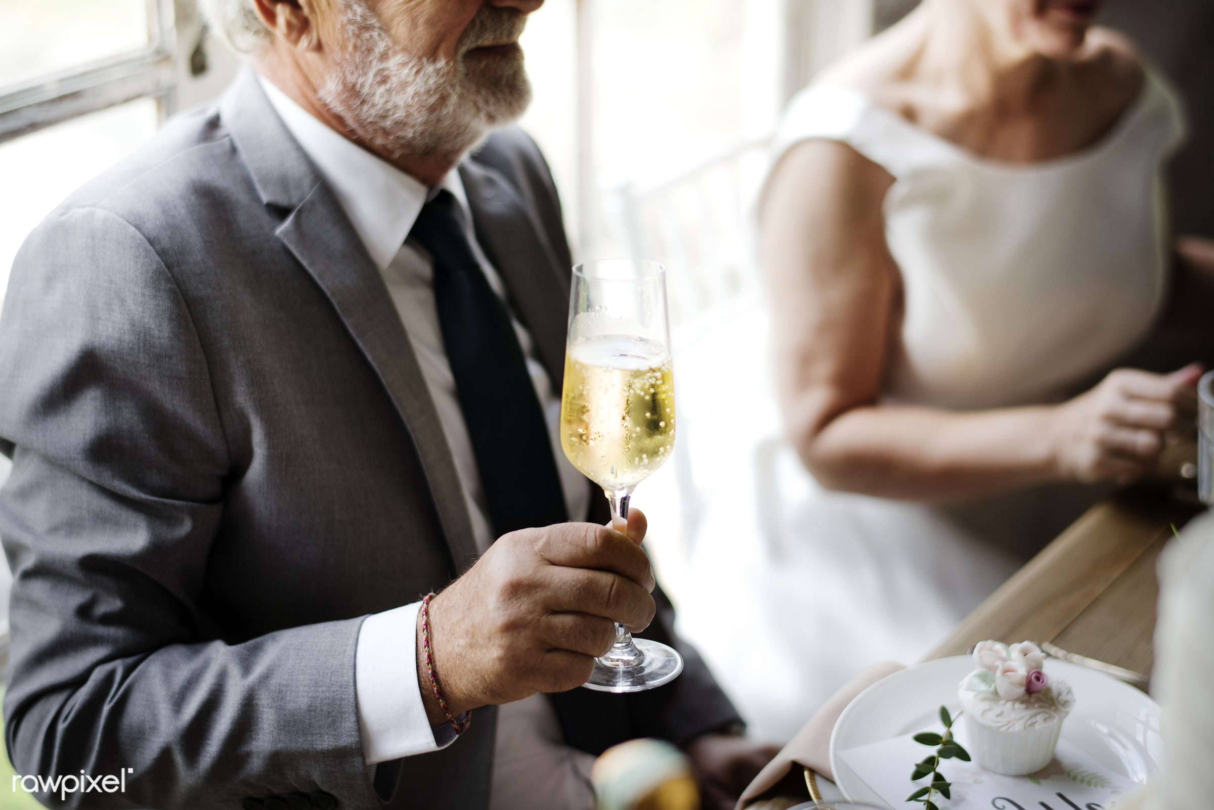 person, holding, occasion, caucasian, married, congrats, hands, drink, glass, suits, cheerful, wine, cake, champagne,...