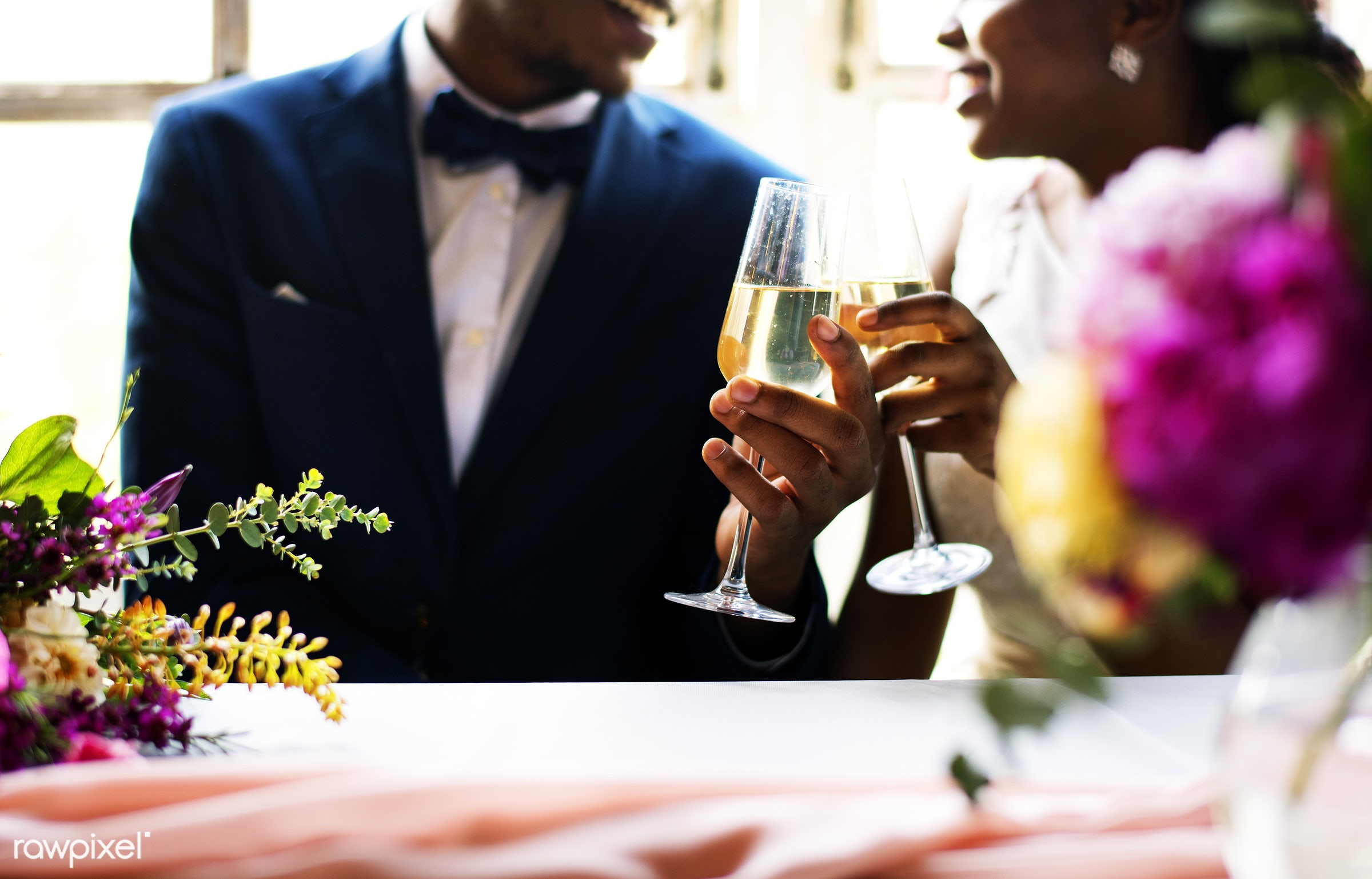 glasses, holding, occasion, drinks, love, married, hands, couple, bride, cheerful, smiling, black, wine, champagne, african...