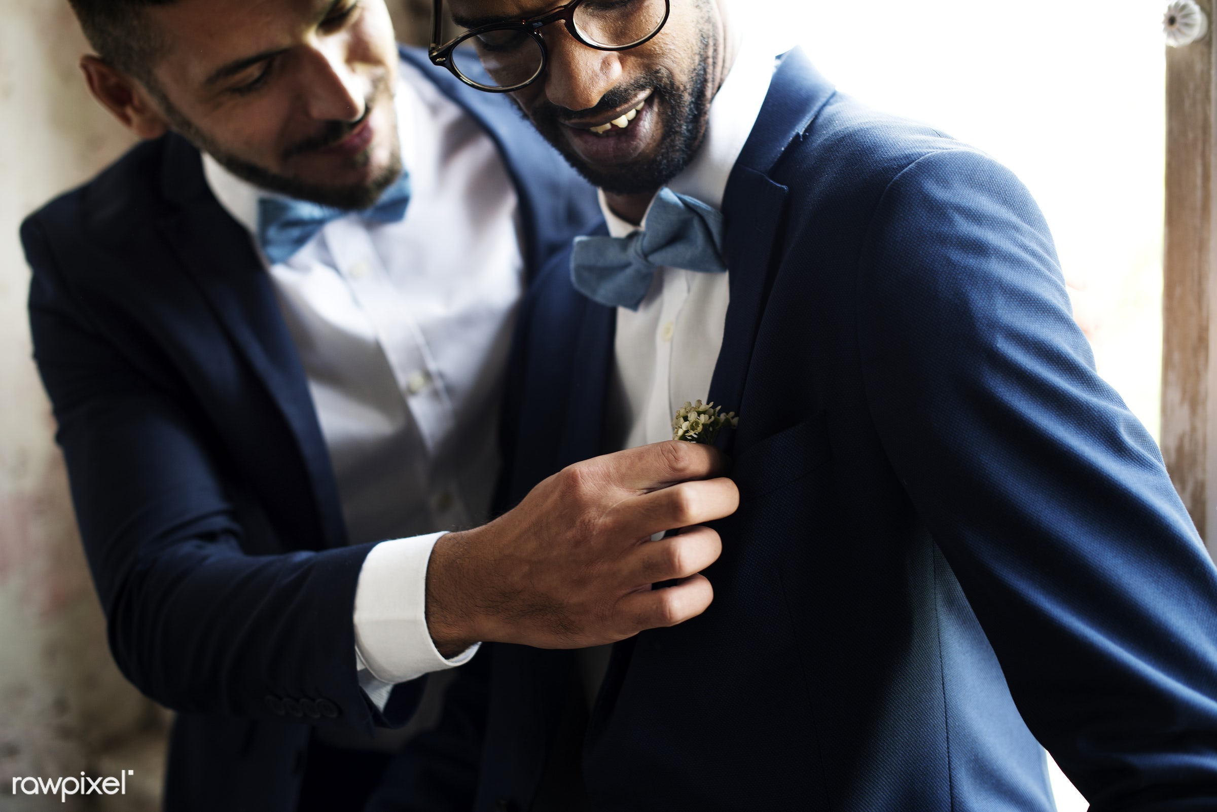 Gay couple sweet on wedding day - gay, black, celebration, cheerful, clothes, couple, diverse, equality, fixing, groom,...