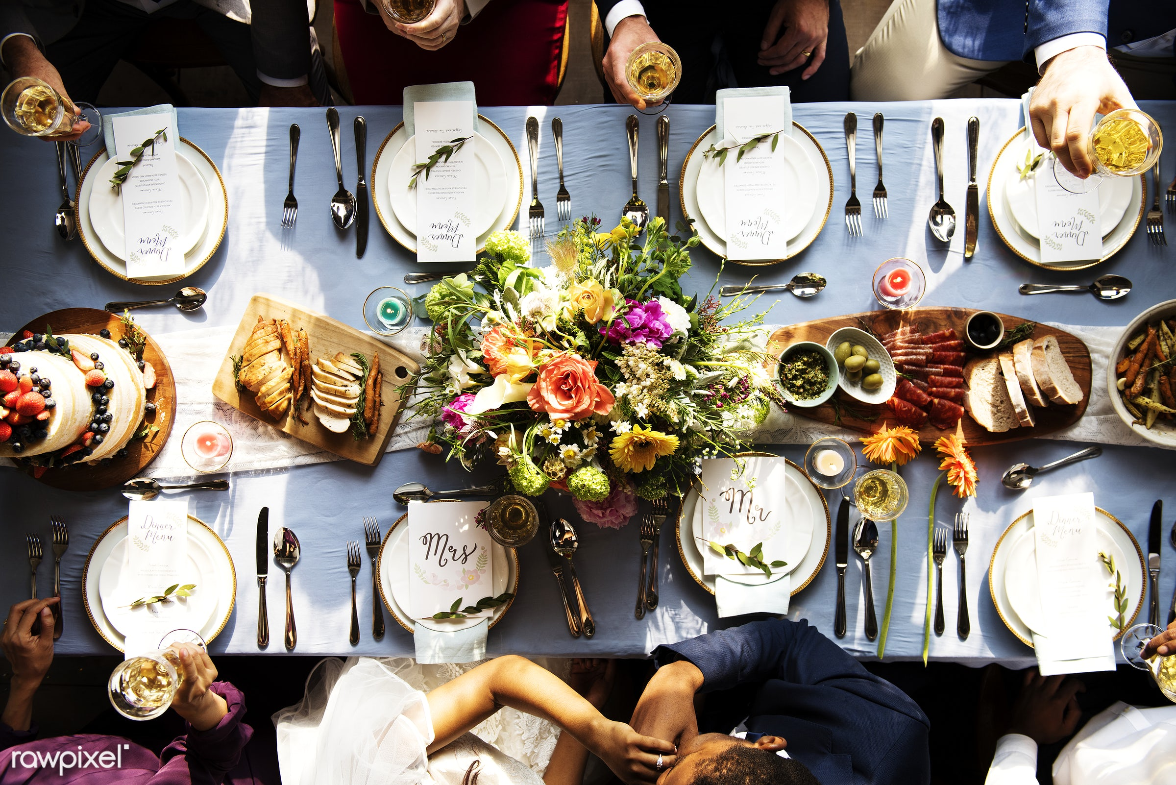 flatlay, top view, guests, occasion, congratulations, people, together, friends, married, congrats, hands, gathering,...