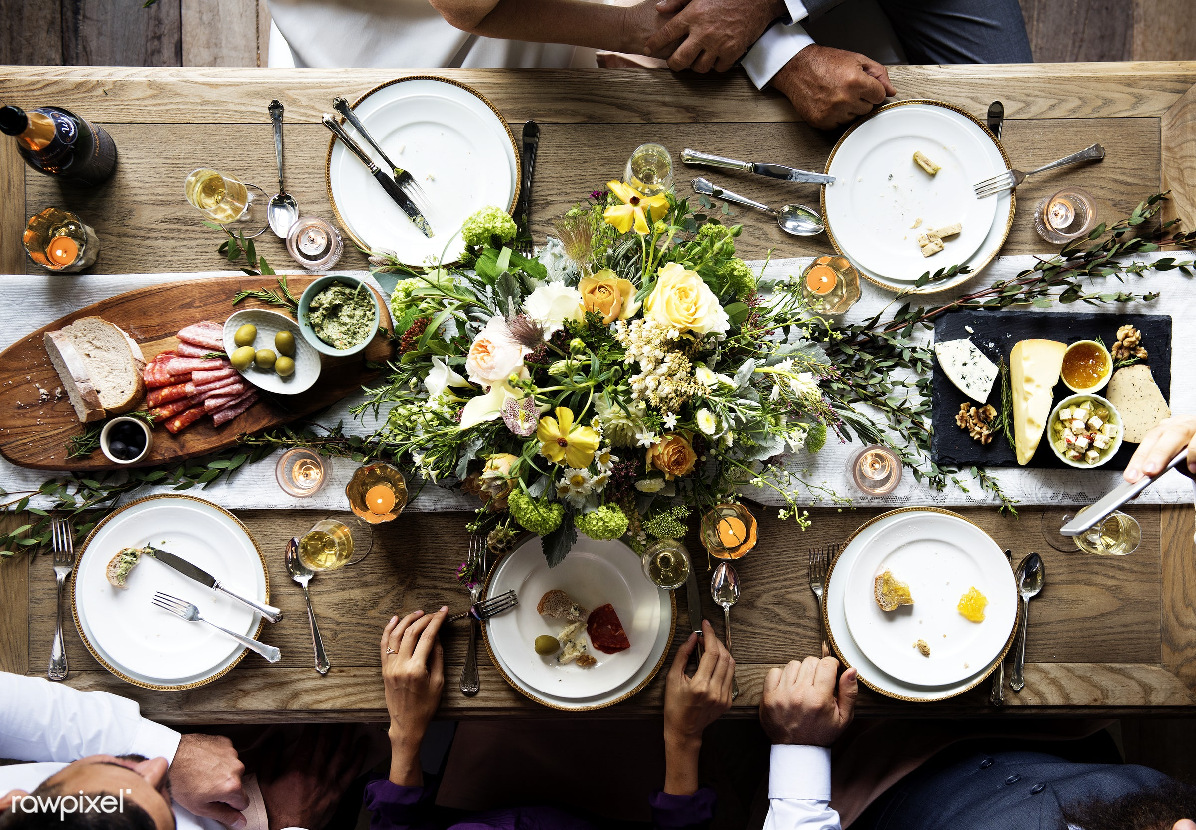flatlay, top view, occasion, guests, cheese, people, together, table cloth, friends, hands, event, gather, aerial view,...