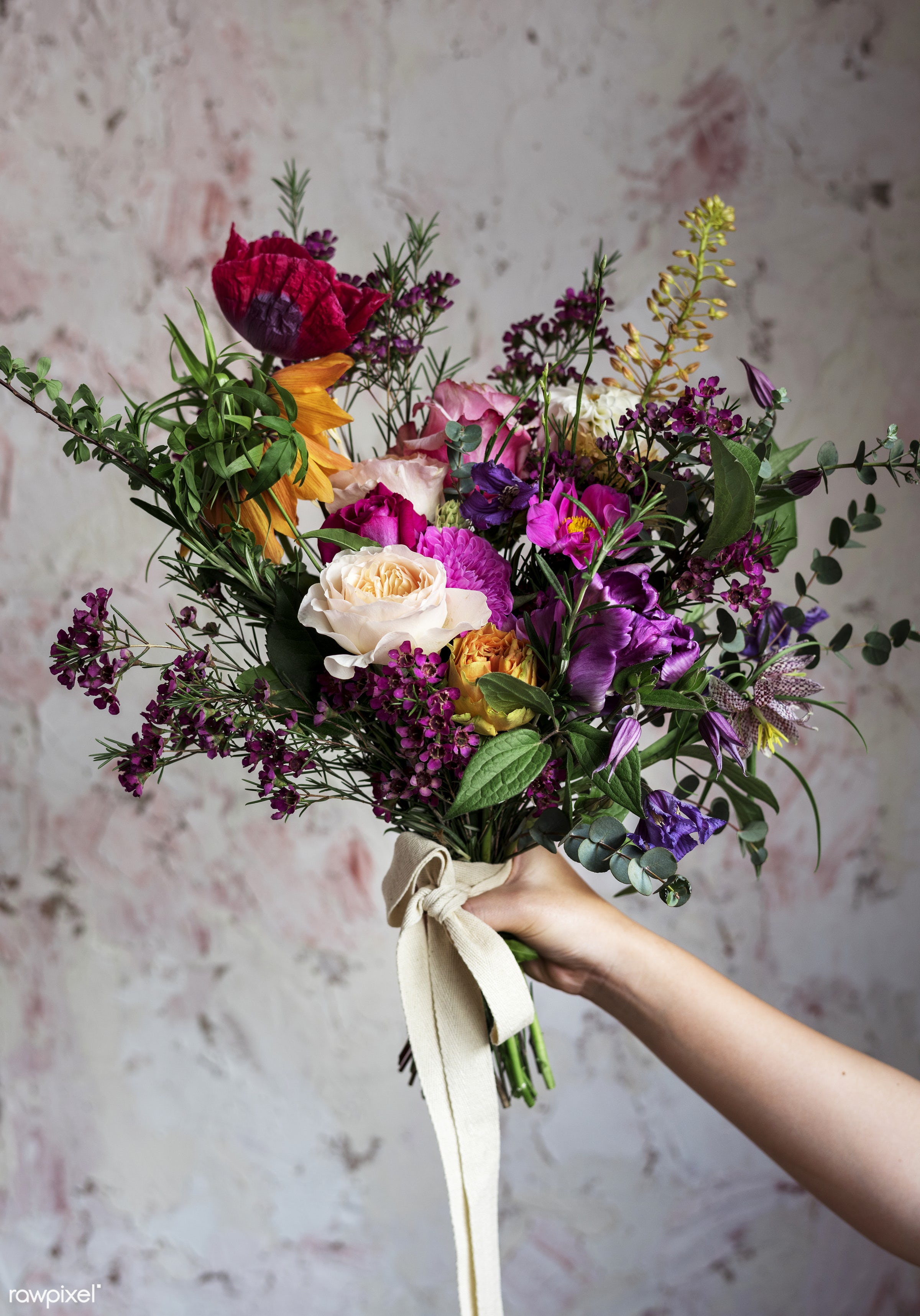 bouquet, ranunculus, holding, diverse, colorful, gold ribbon, people, real, nature, fresh, hands, mixed, flowers, caspia,...