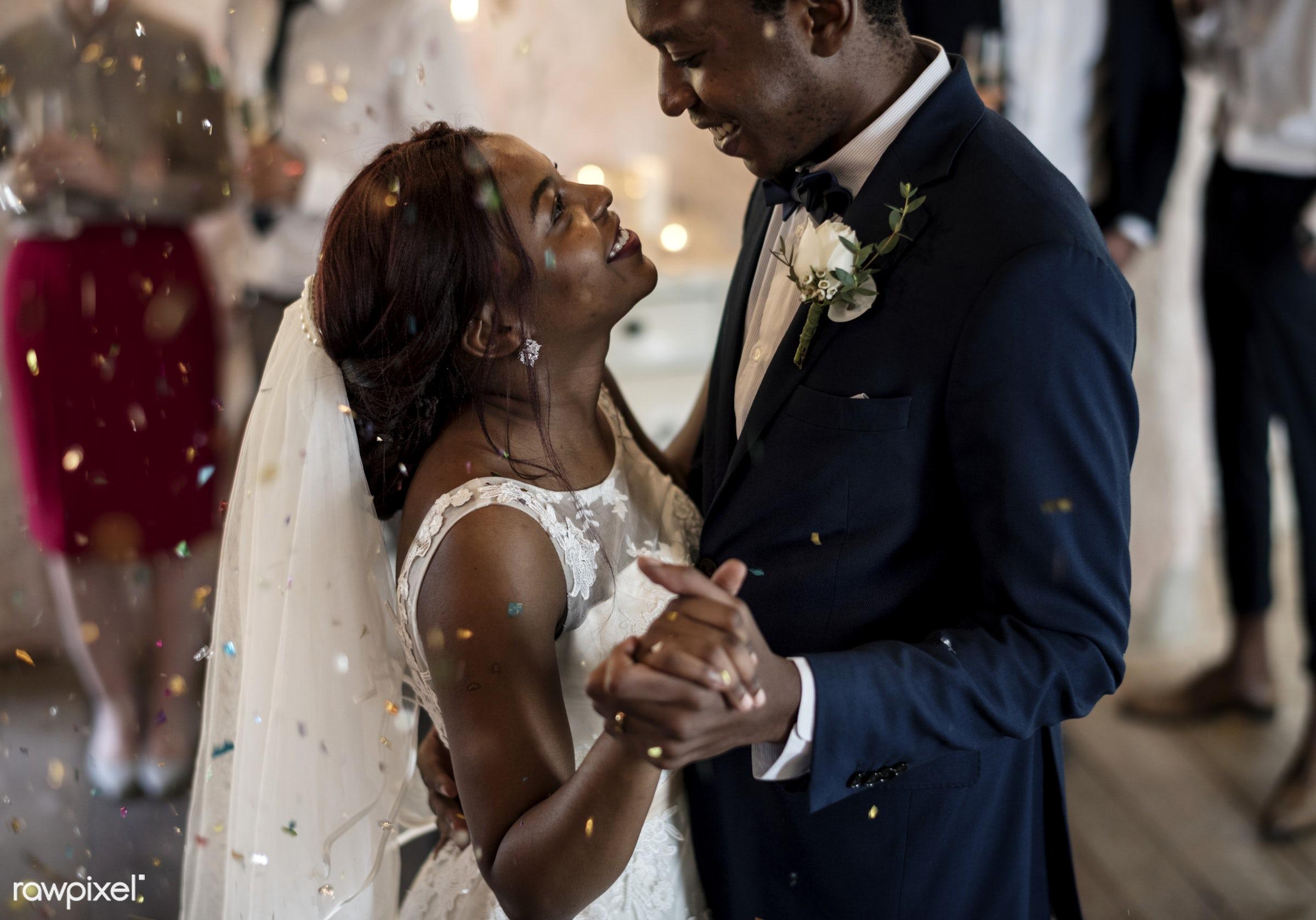 Bridge and groom wedding day - wedding, bride, african descent, affection, black, celebration, cheerful, confetti, couple,...