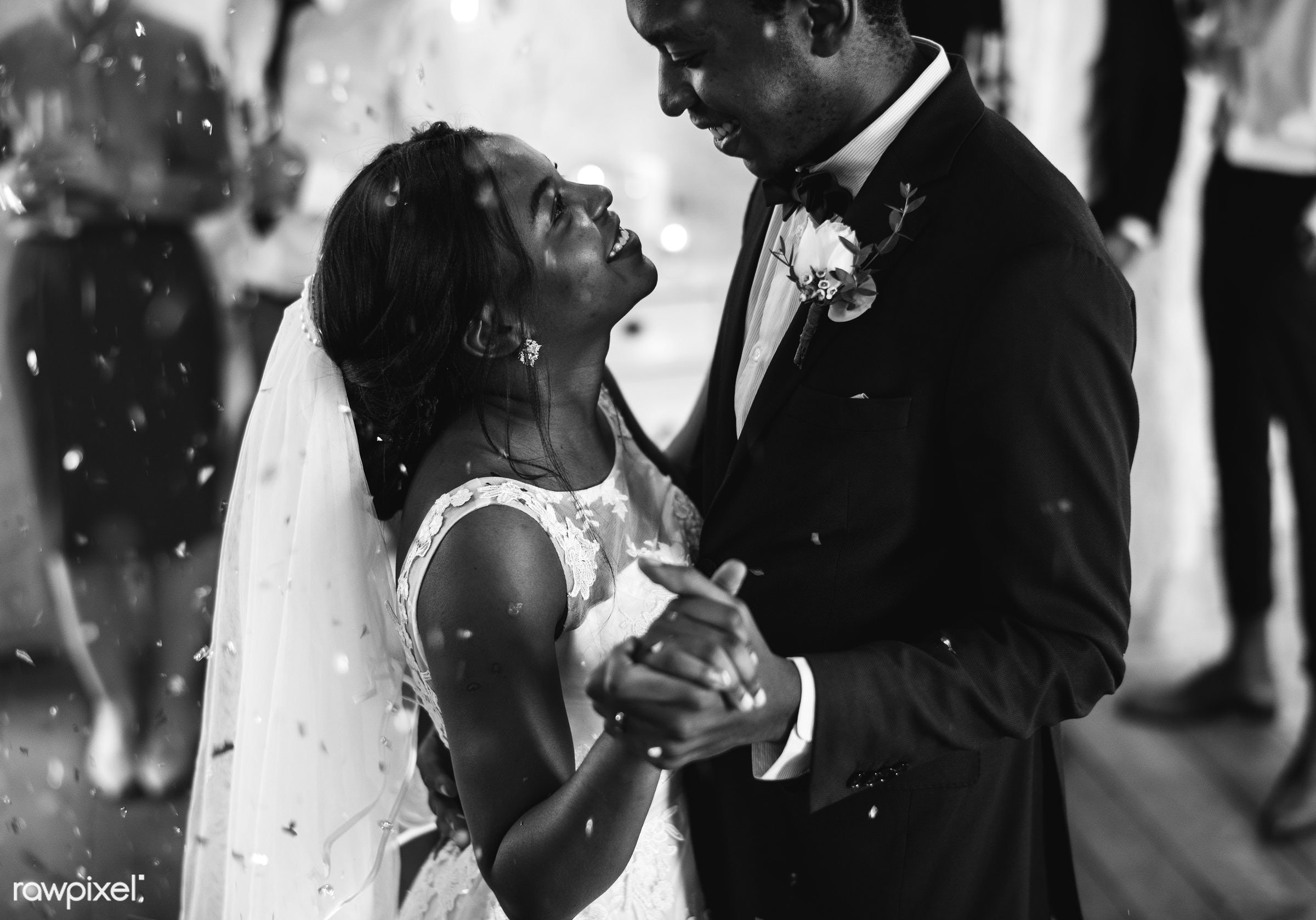 Black couple dancing on their wedding day - wedding, union, marriage, bride, groom, couple, spouse, even, celebration, love...