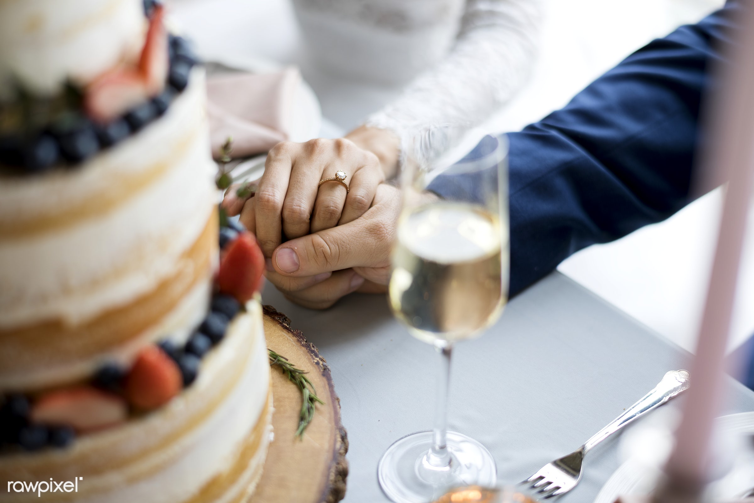 holding, people, together, love, married, hands, glass, couple, bride, closeup, ring, cake, champagne, newlywed, ceremony,...