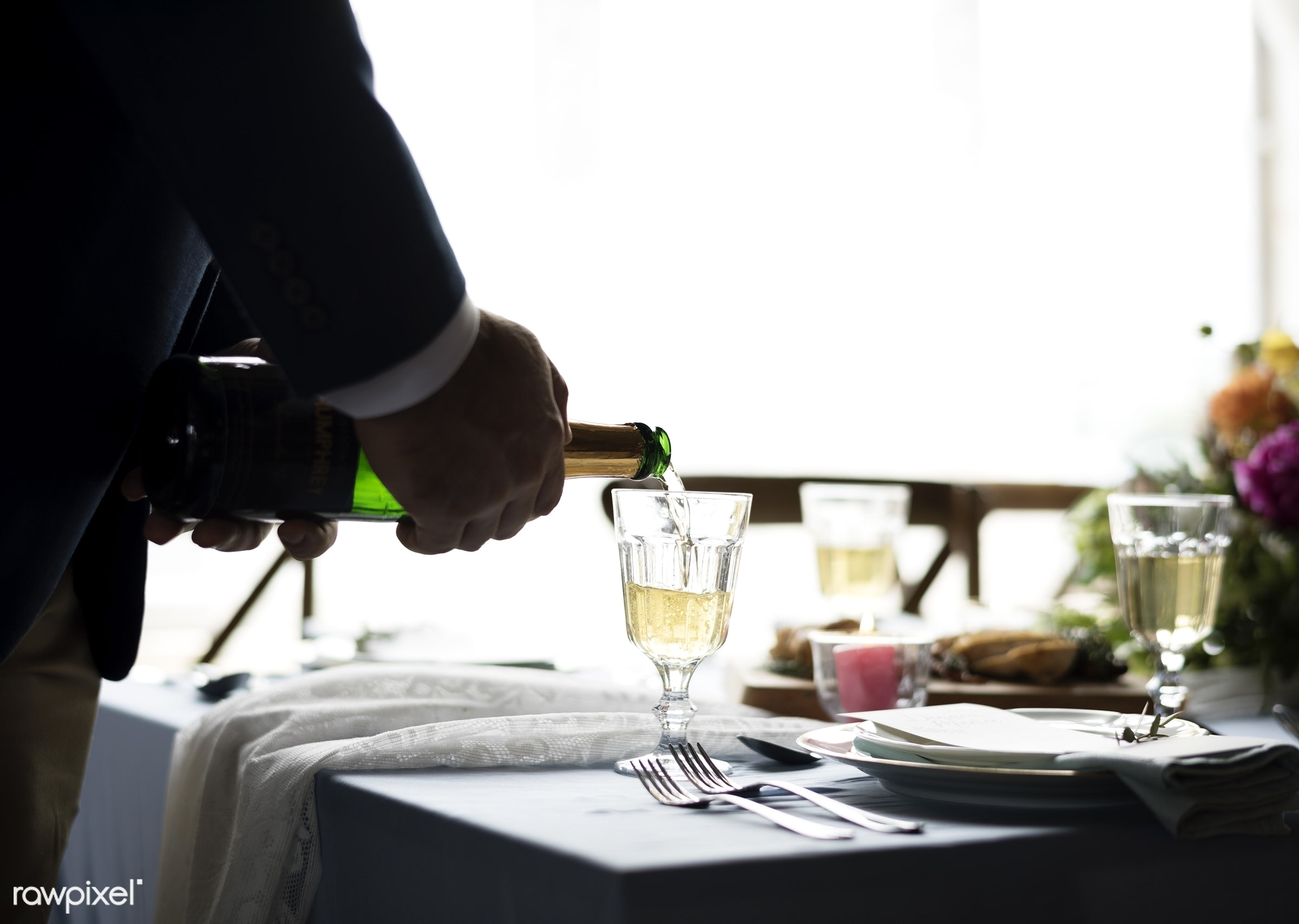 person, glasses, holding, party, setting, hands, drink, pouring, banquet, closeup, champagne, table setting, bottle,...