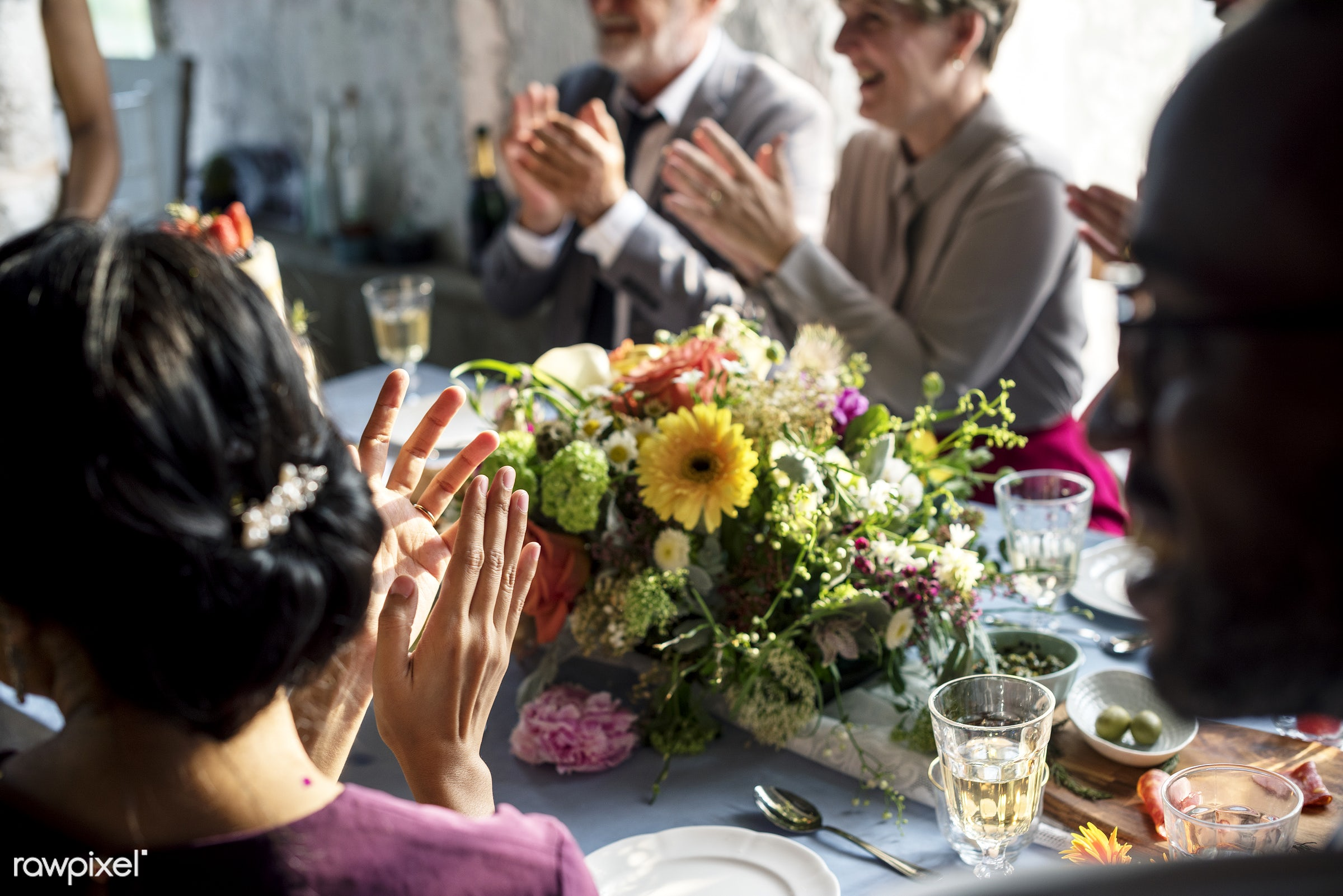 diverse, occasion, party, people, together, friends, congrats, hands, gathering, banquet, flowers, cheerful, closeup,...