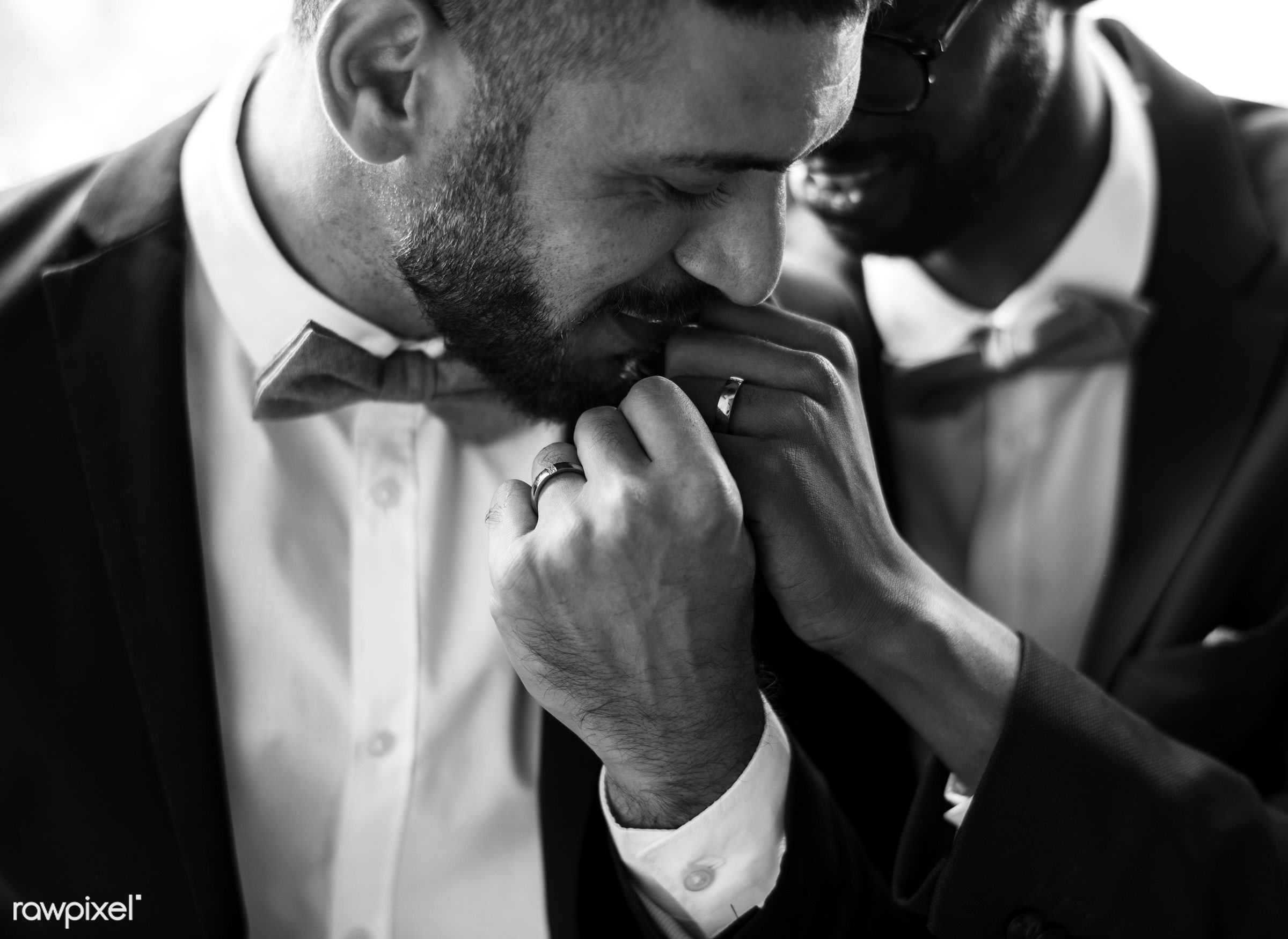 occasion, people, love, married, hands, couple, men, cheerful, kissing, gay couple, wearing, newlywed, togetherness,...