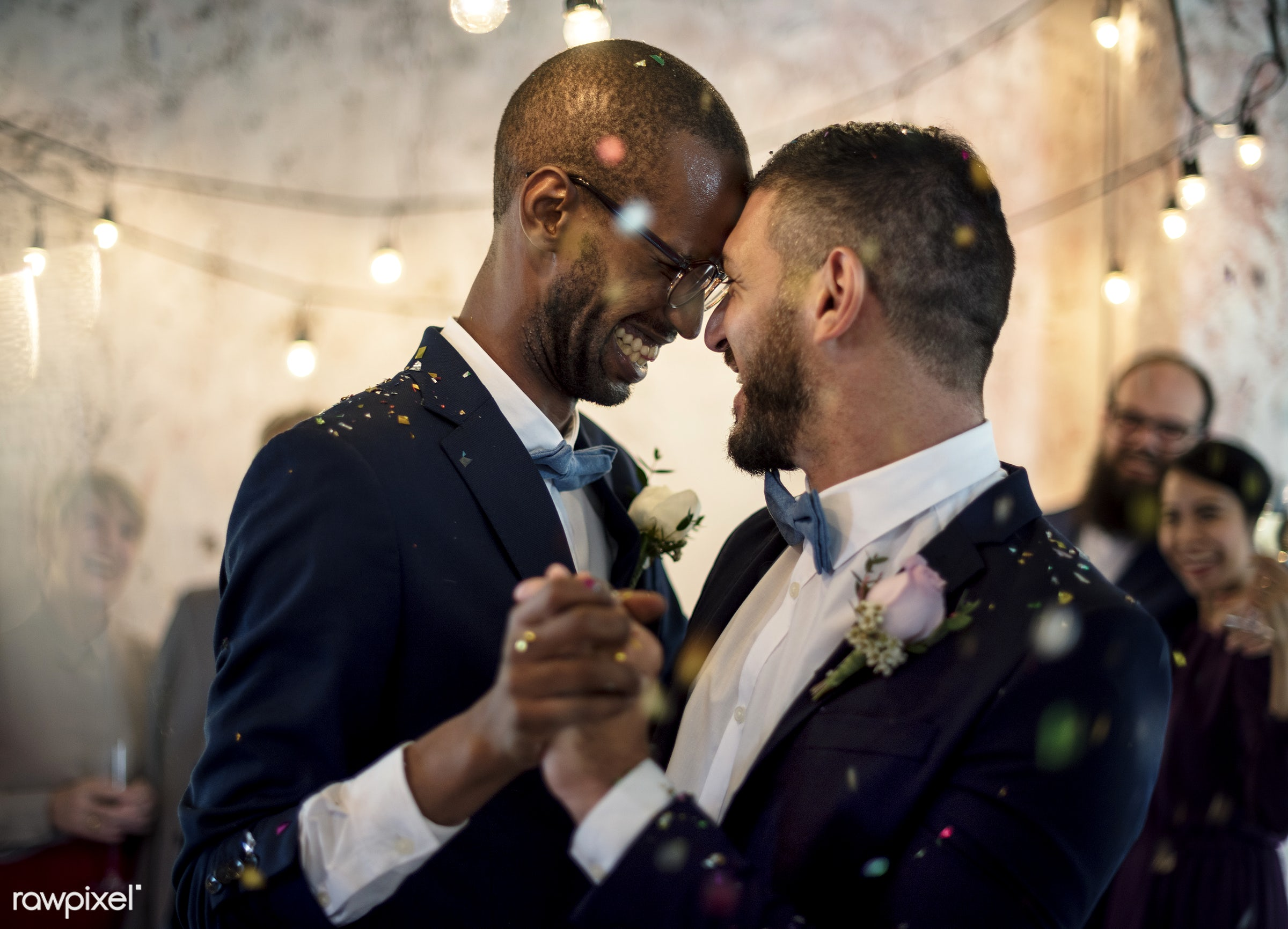 gala, african descent, banquet, caucasian, celebration, ceremony, cheerful, closeup, couple, dance, gay couple, grooms,...