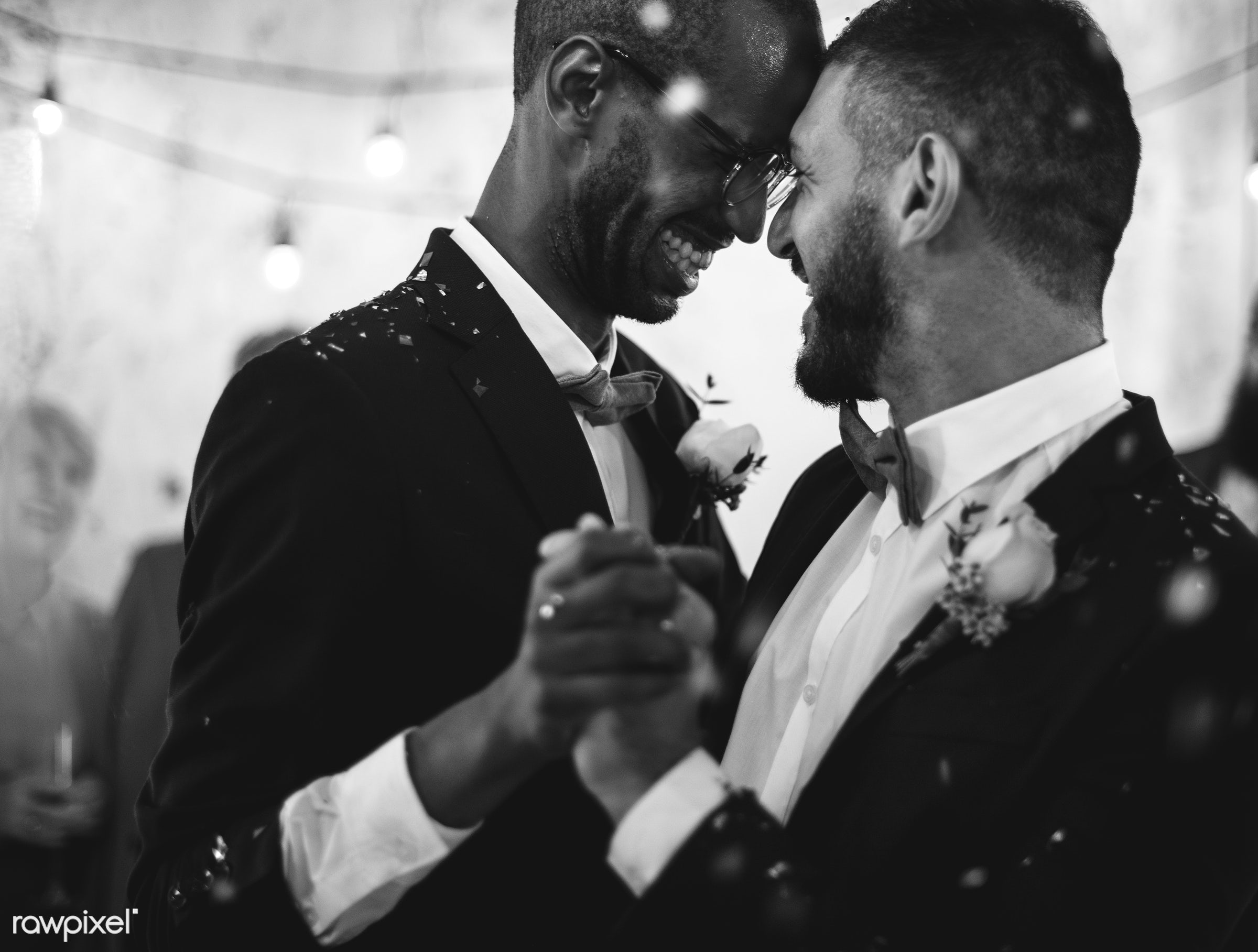 Gay couple dancing on wedding day - groom, lgbt, gay, homosexual, marriage, wedding, love, equality, sweet, closeness,...