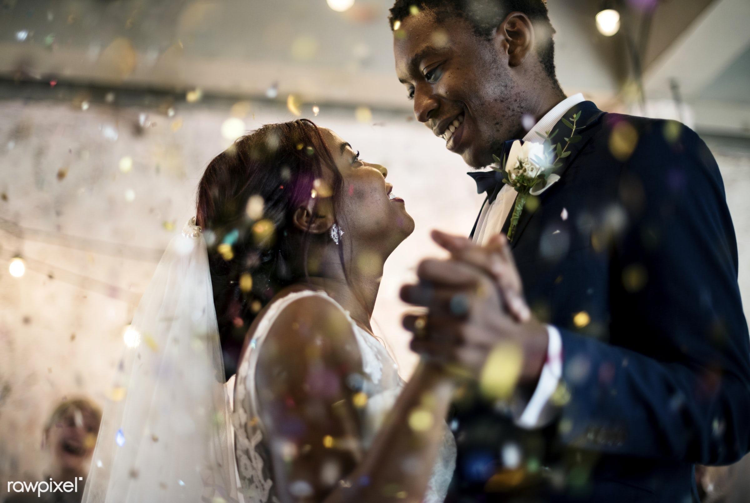 Bridge and groom wedding day - wedding, bride, affection, african descent, black, celebration, cheerful, confetti, couple,...