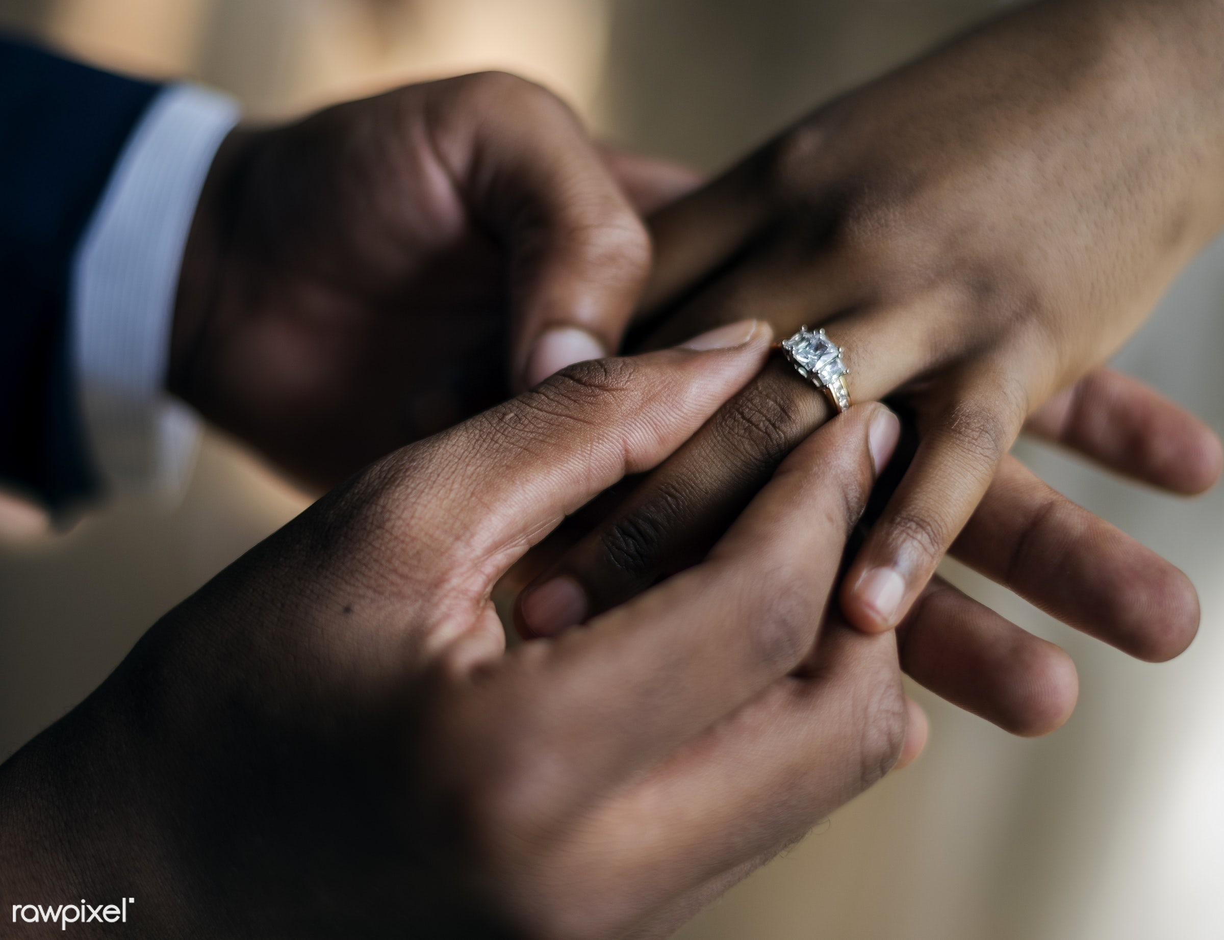 holding, people, together, love, married, hands, couple, bride, black, closeup, ring, put on, african descent, newlywed,...