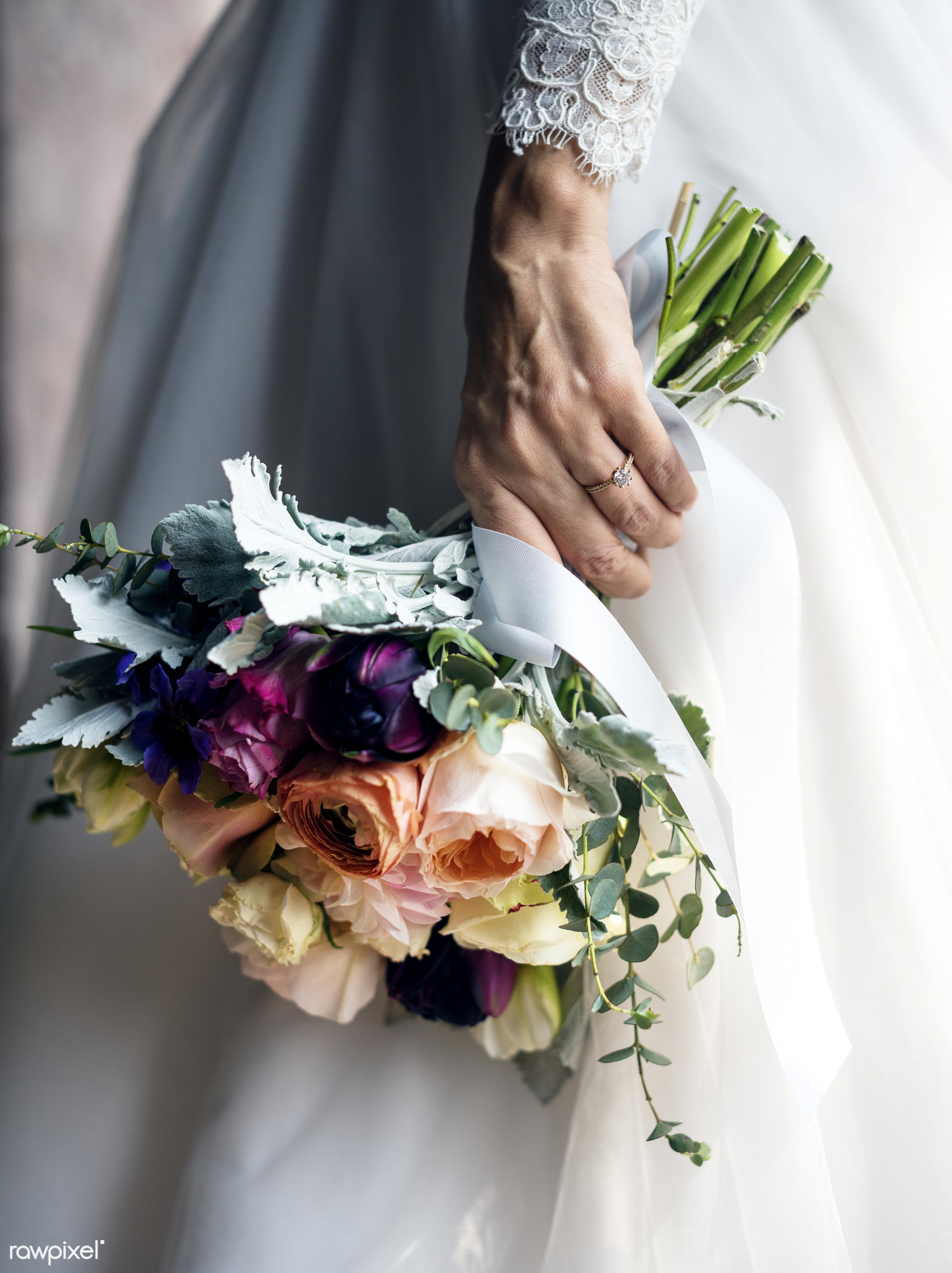 bouquet, holding, diverse, white dress, tulips, caucasian, real, nature, fresh, hands, woman, event, mixed, bride, flowers,...