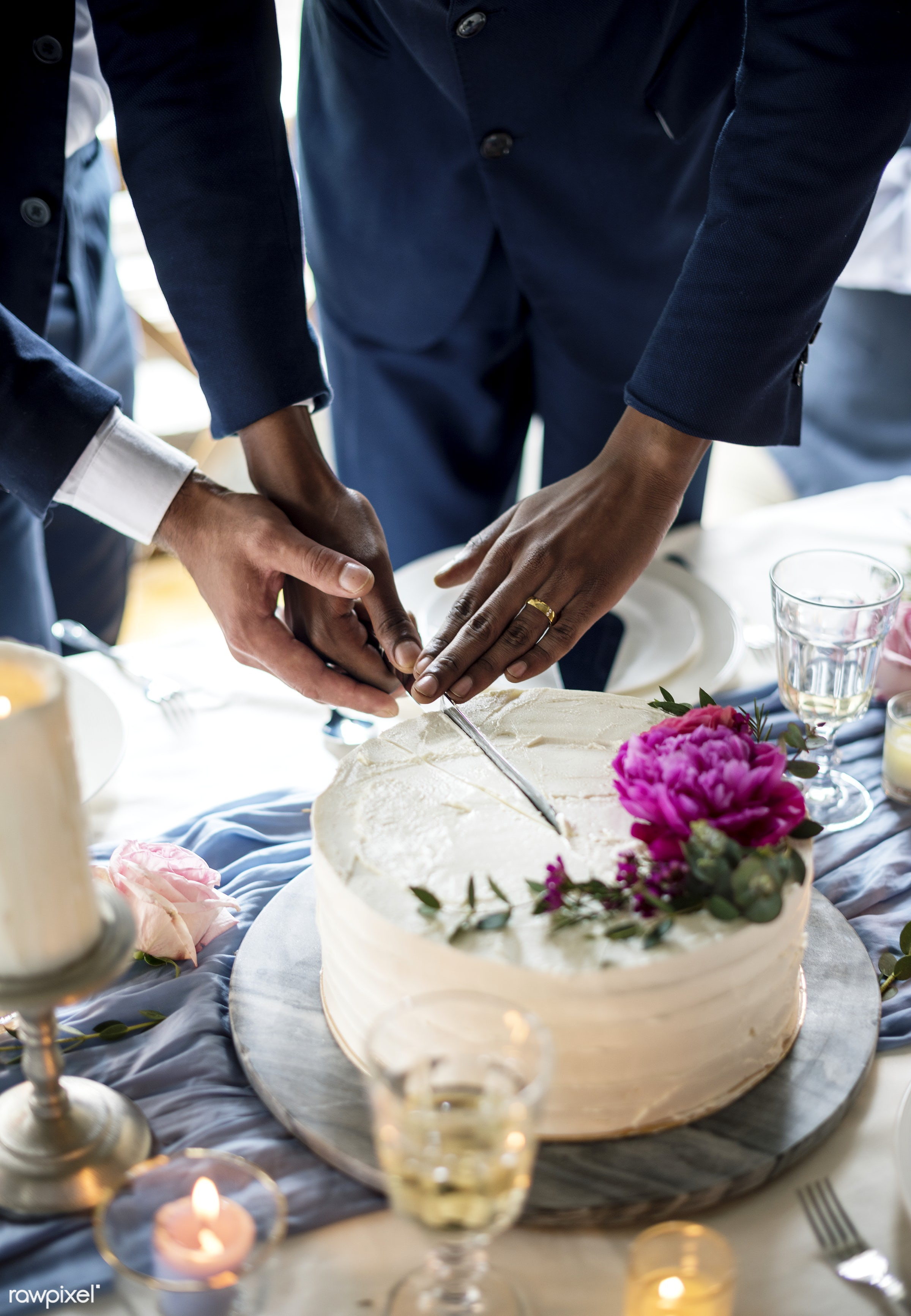 Gay couple cutting cake together - cake, celebration, closeup, cutting, dessert, equality, floral, food, gay, groom,...