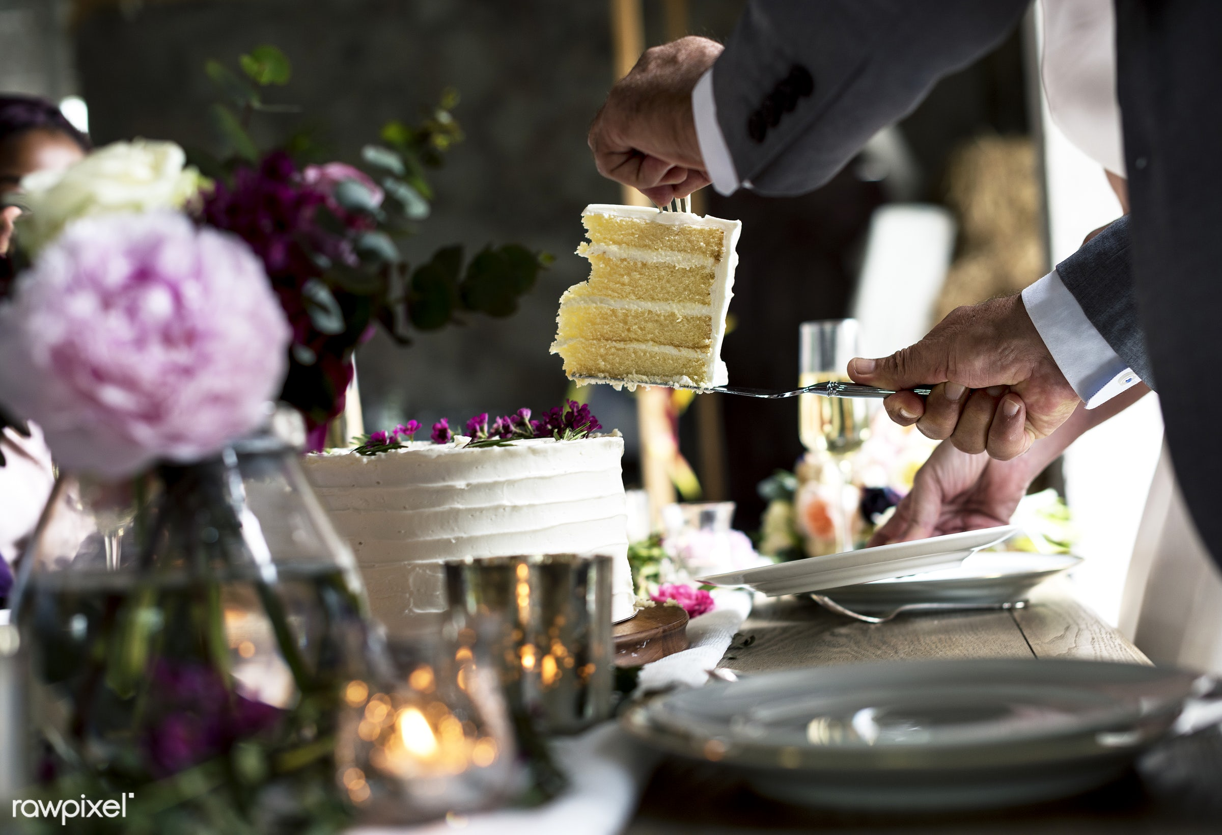 getting, occasion, party, sharing, bakery, hands, flowers, giving, closeup, piece, cake, table setting, ceremony, reception...