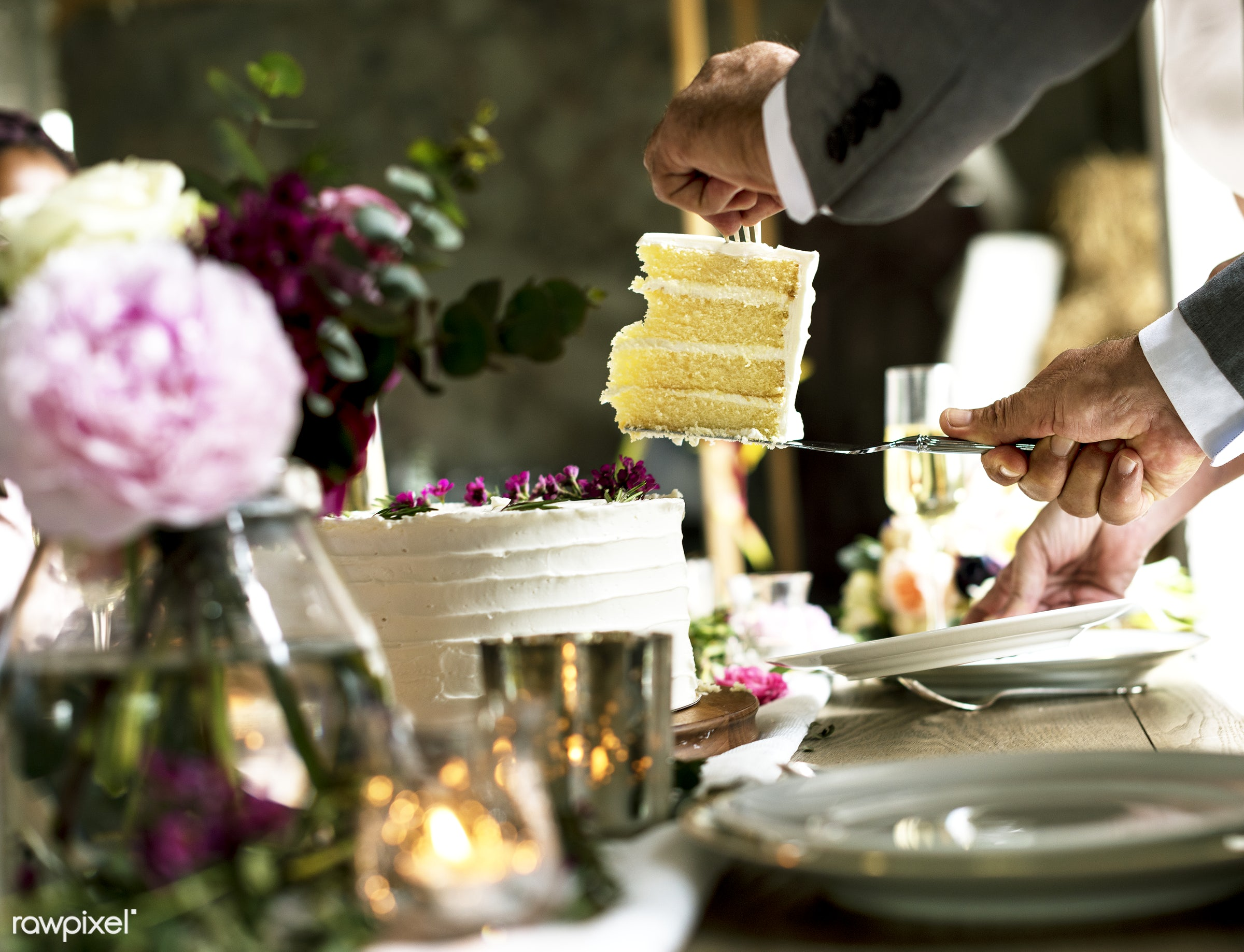Hands getting a slice of a c - slice, cake, food, sweet, dessert, flower, plate, closeup, hands, eating, pastry, party,...