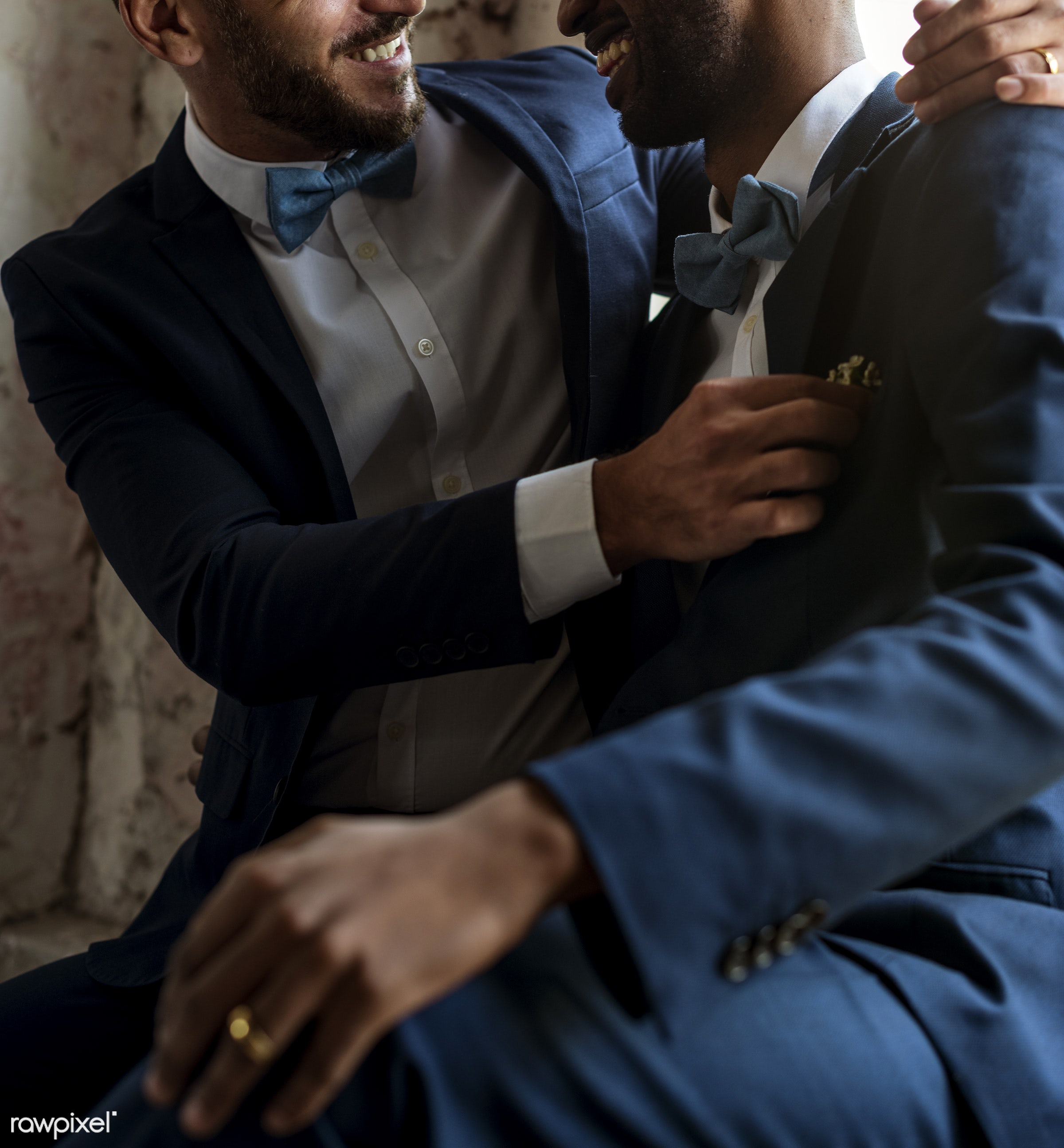 gay couple, african descent, occasion, ceremony, together, lgbt, caucasian, love, two, sitting, wedding, banquet, men,...