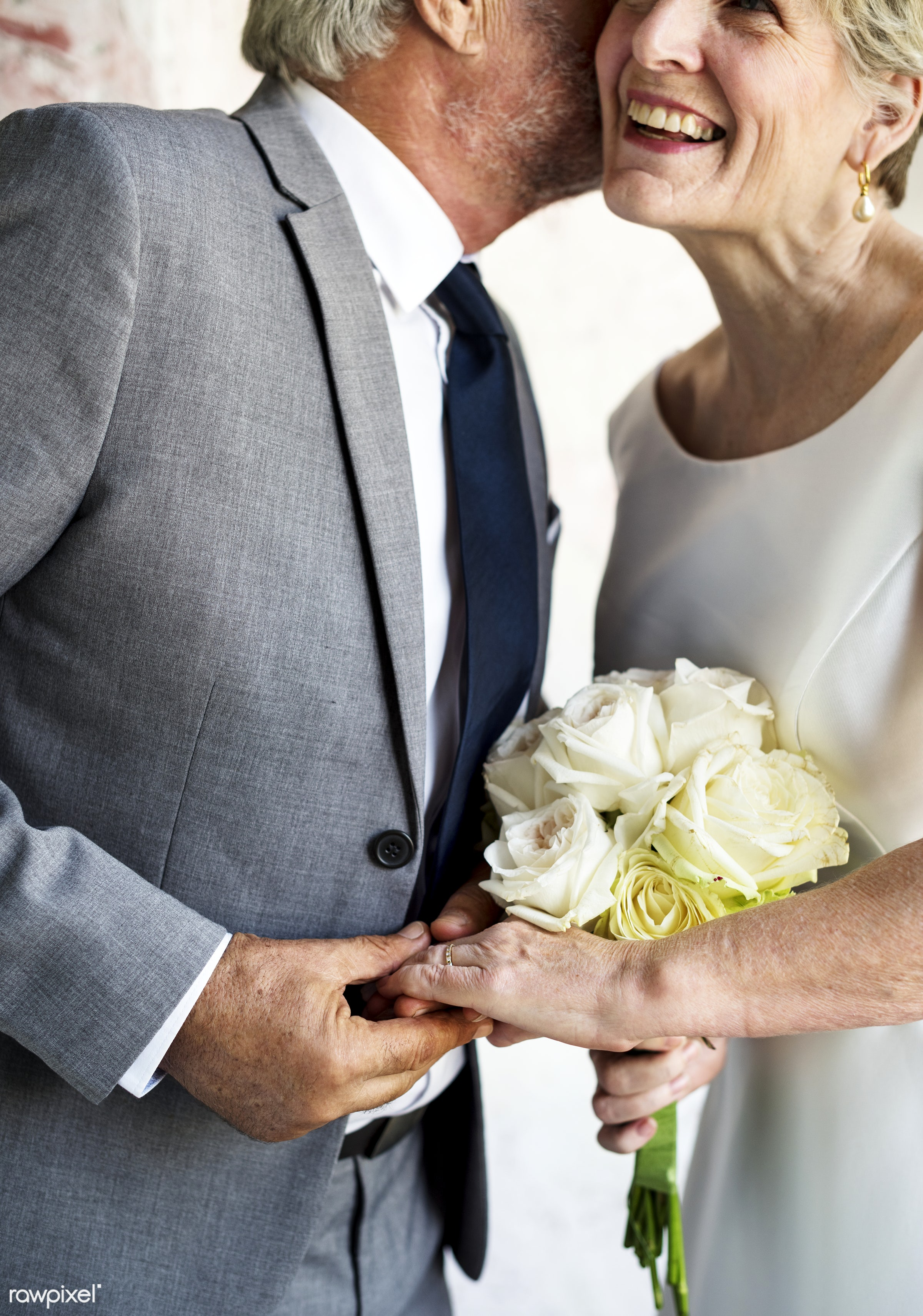 bouquet, holding, occasion, husband, people, love, married, hands, spouse, flowers, cheerful, senior couple, kissing,...
