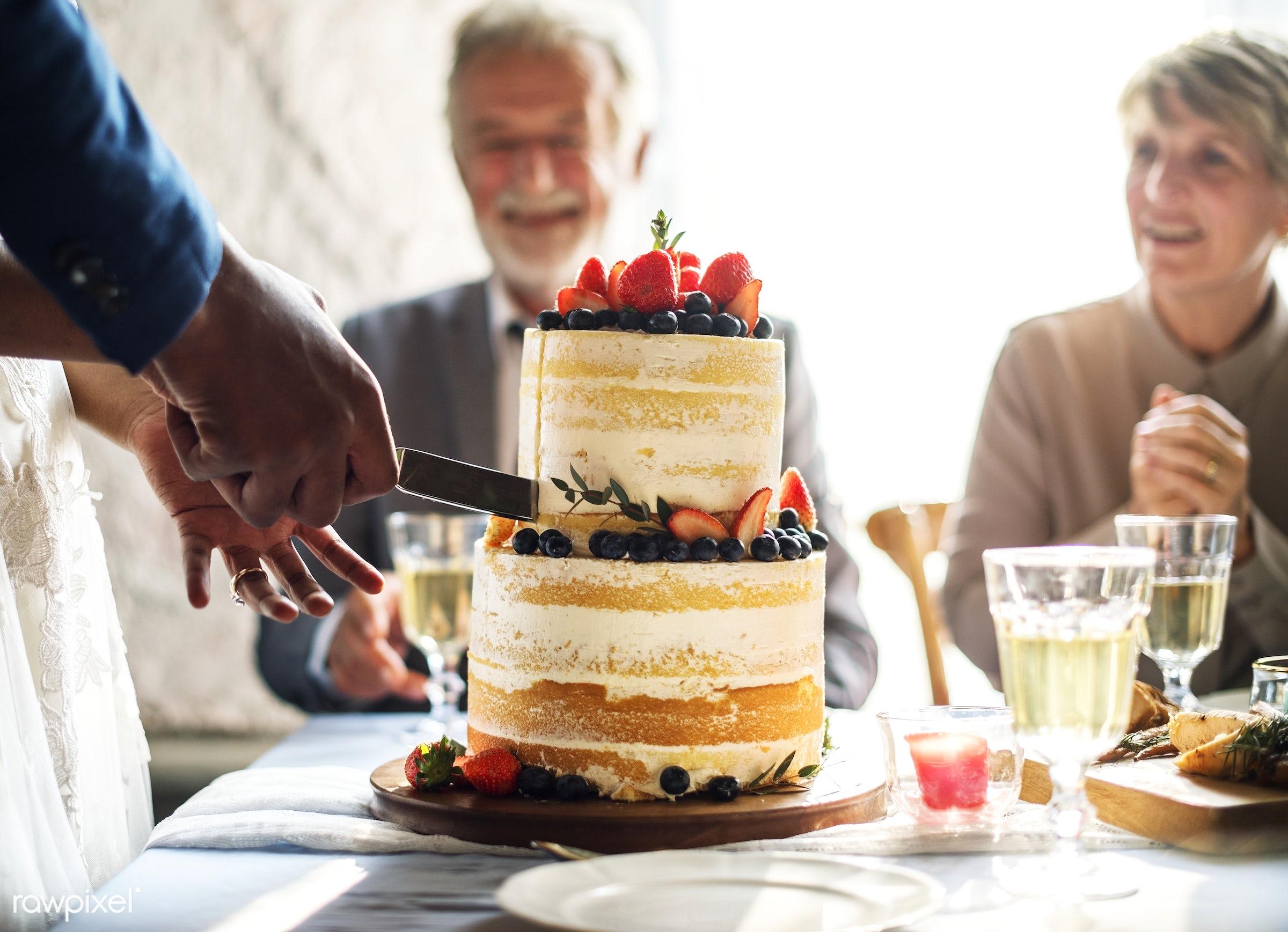 cake, berries, celebrate, celebration, congrats, congratulations, couple, cut, dessert, diversity, elegance, friends, gather...