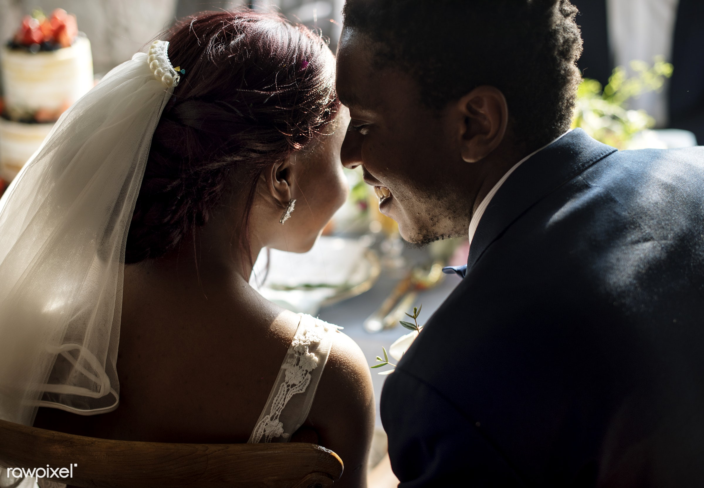 wedding, african descent, black, bride, celebration, ceremony, cheerful, fiance, groom, kissing, love, marriage, married,...