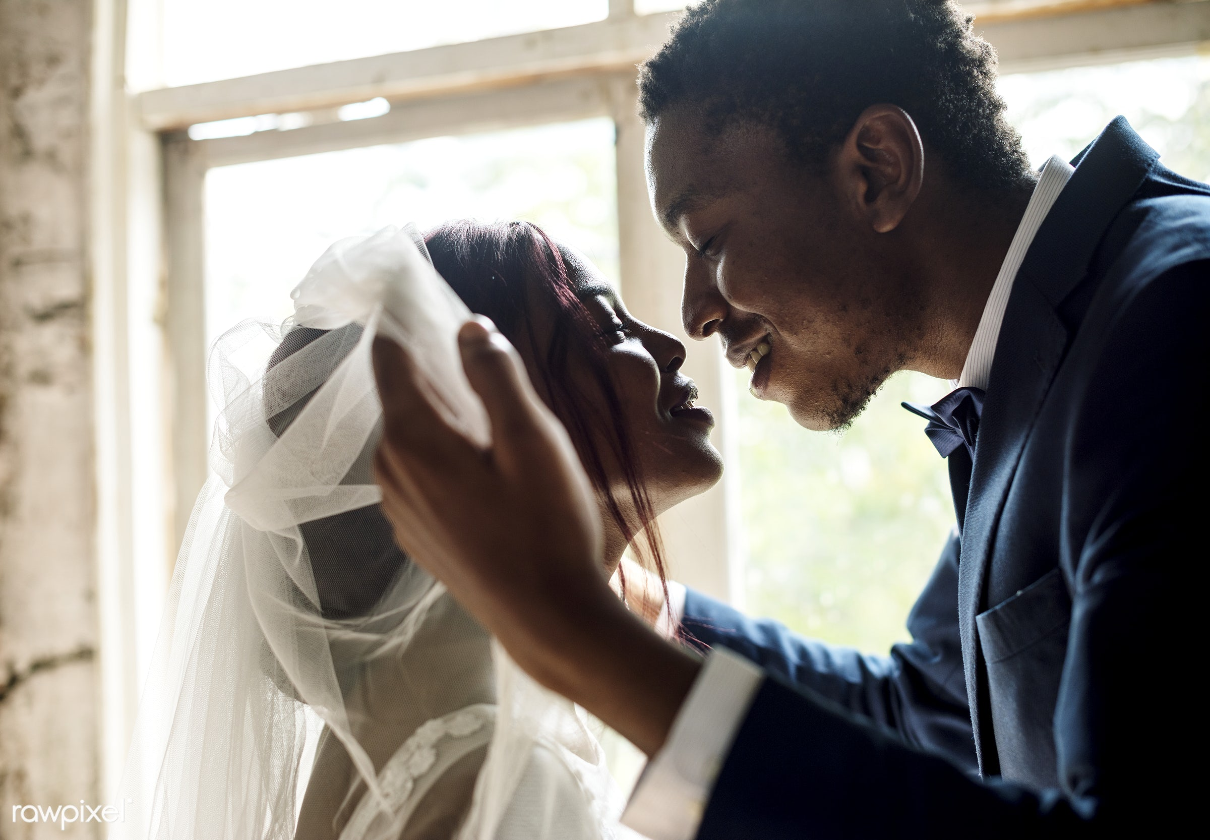 occasion, veil, husband, people, love, open, married, spouse, bride, cheerful, black, kissing, african descent, newlywed,...
