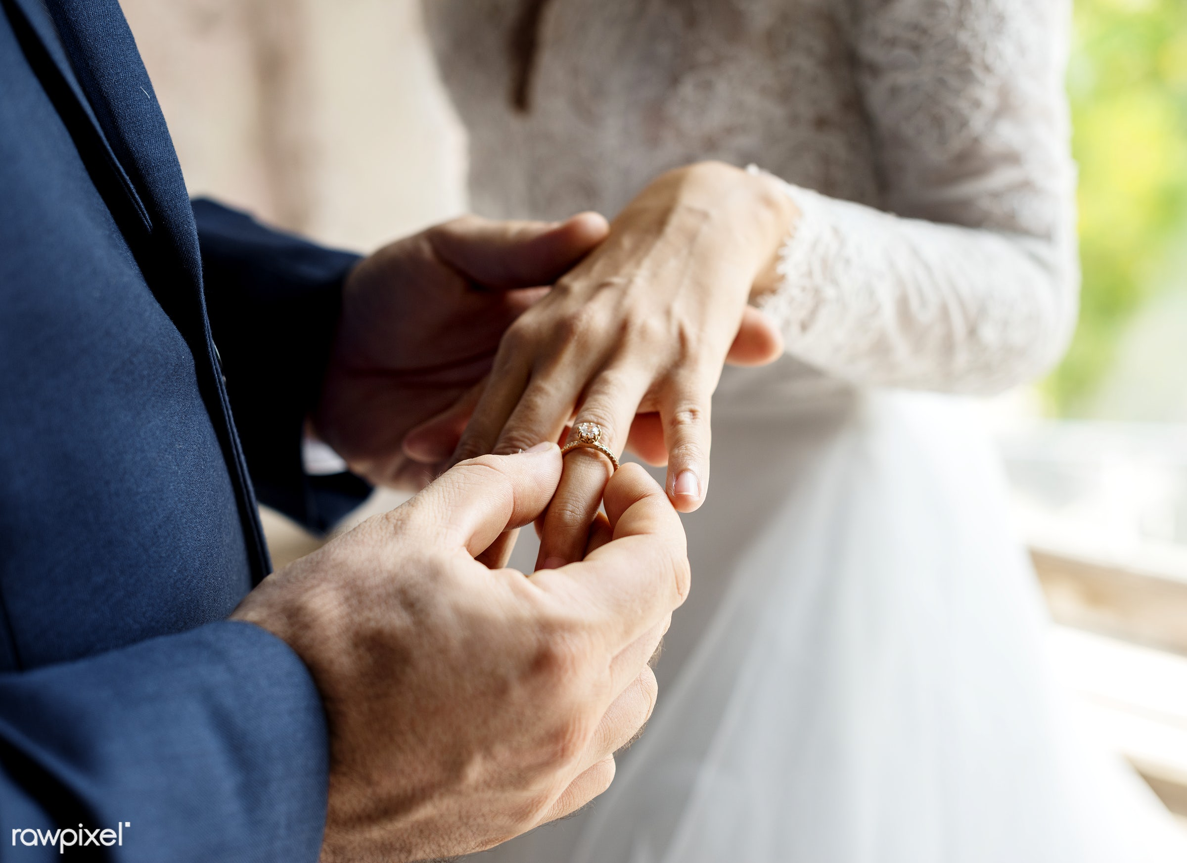 holding, people, together, love, married, hands, couple, bride, closeup, ring, put on, newlywed, ceremony, marriage, wedding...