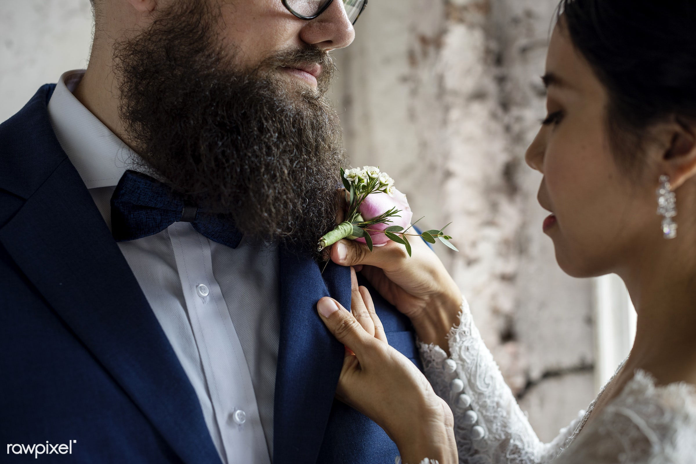 bouquet, occasion, together, asian, caucasian, love, married, hands, couple, bride, cheerful, smiling, flower, put on,...