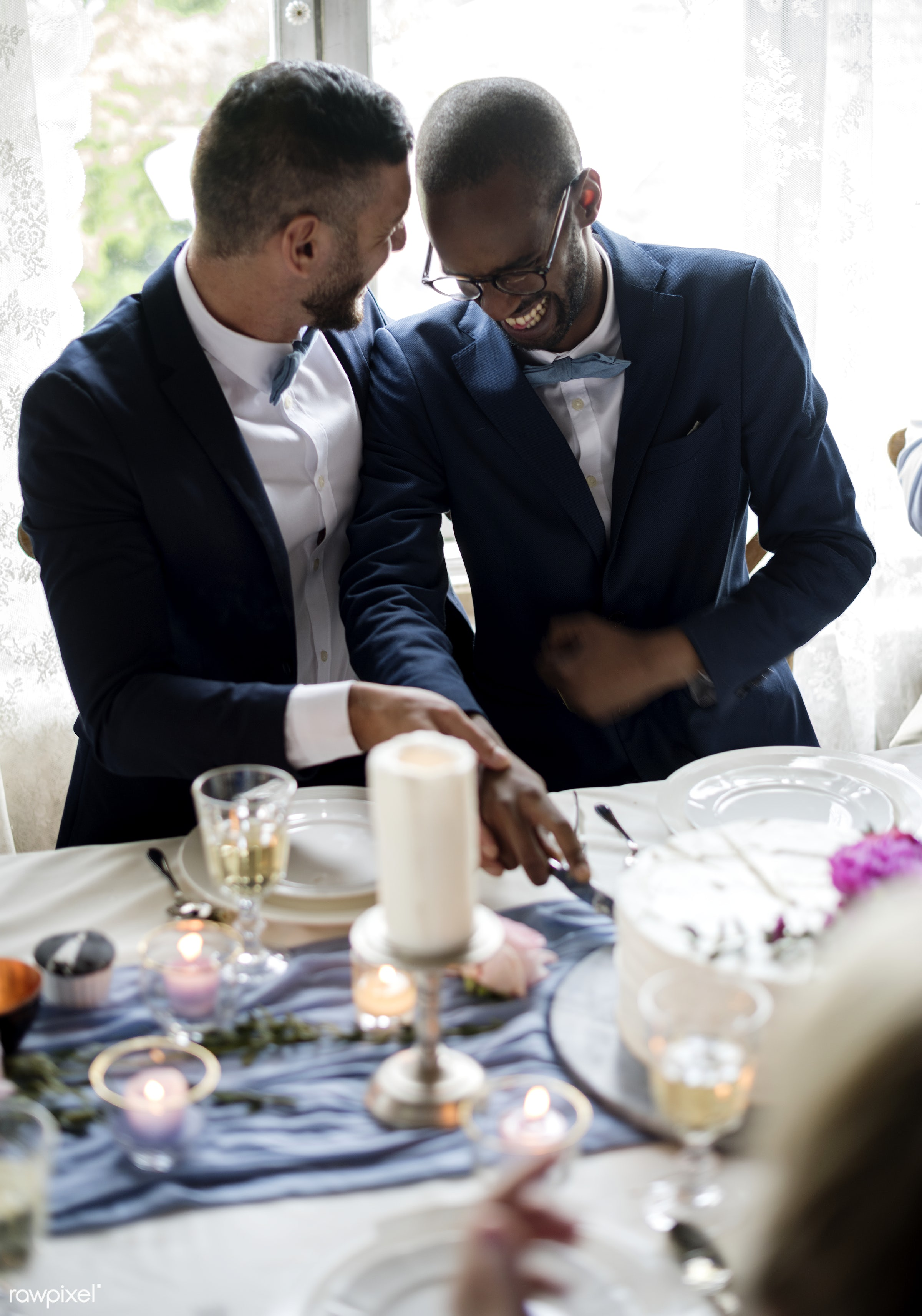 person, holding, occasion, together, love, married, hands, suits, banquet, couple, men, cheerful, smiling, cake, diversity,...